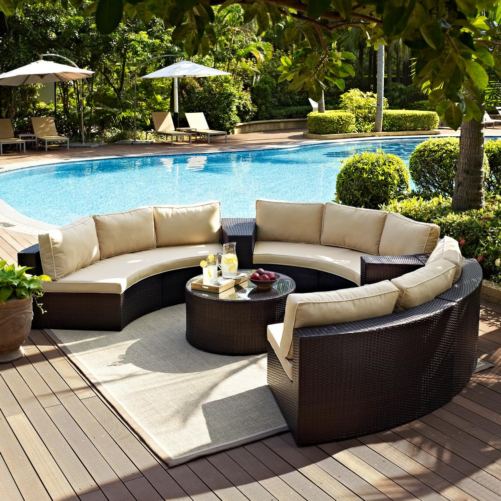 Catalina Outdoor Right Arm Sectional Pieces With Cushions Intended For Recent Crosley Catalina 6 Piece Wicker Outdoor Sectional Set With Sand Cushions (View 11 of 25)