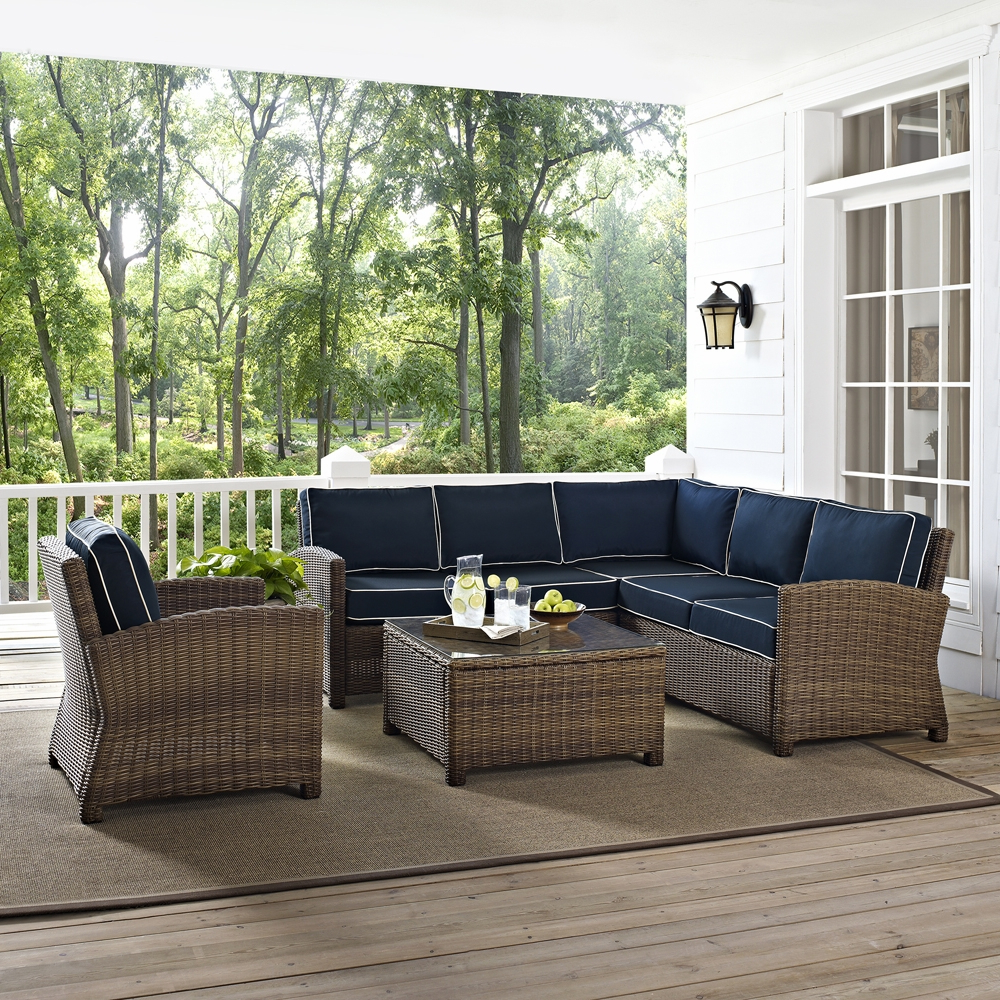 Catalina Outdoor Right Arm Sectional Pieces With Cushions With Regard To Newest Crosley Furniture – Bradenton 5 Piece Outdoor Wicker Seating Set With Navy Cushions – Right Corner Loveseat, Left Corner Loveseat, Corner Chair, Arm (View 15 of 25)