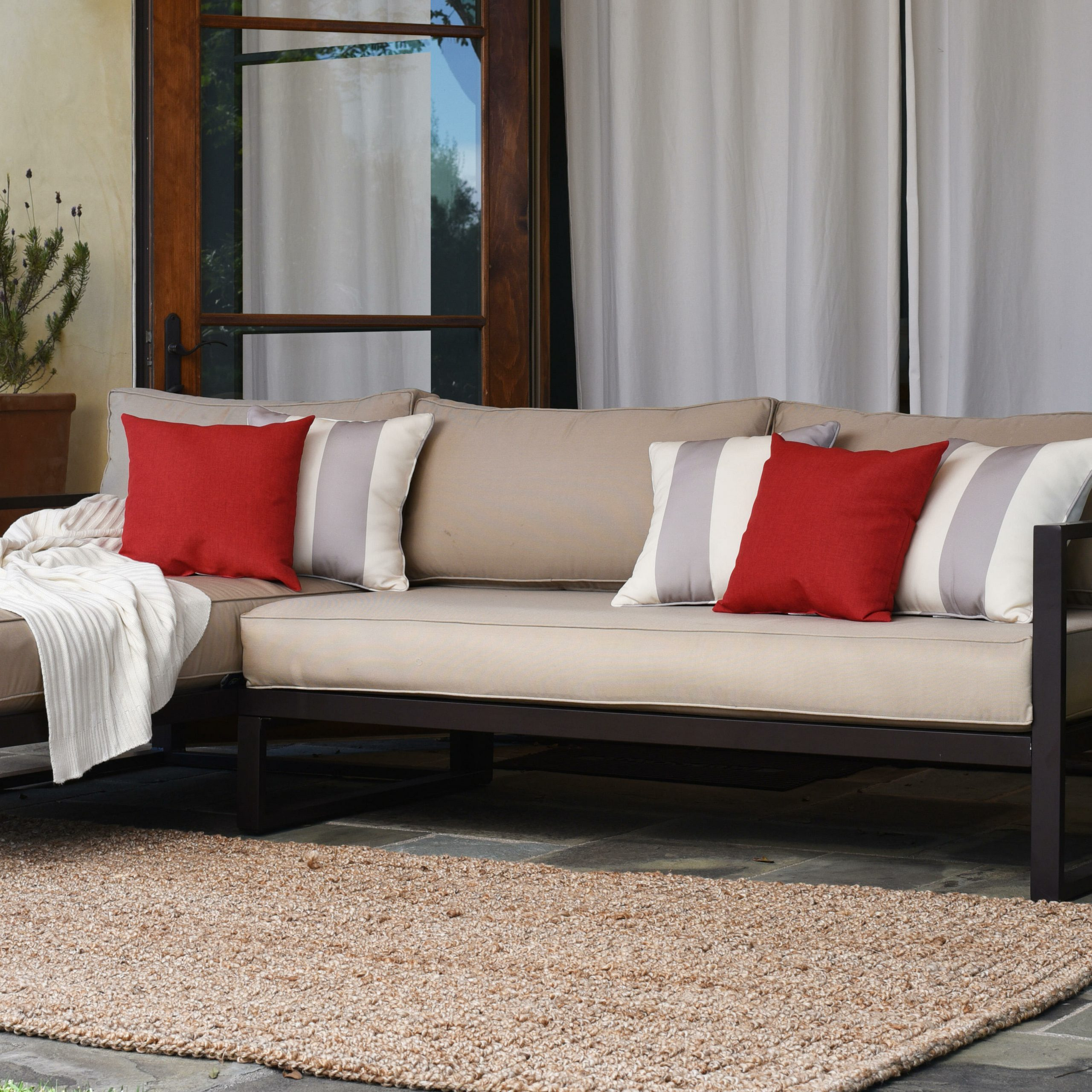 Featured Photo of Catalina Outdoor Right Arm Sectional Pieces with Cushions