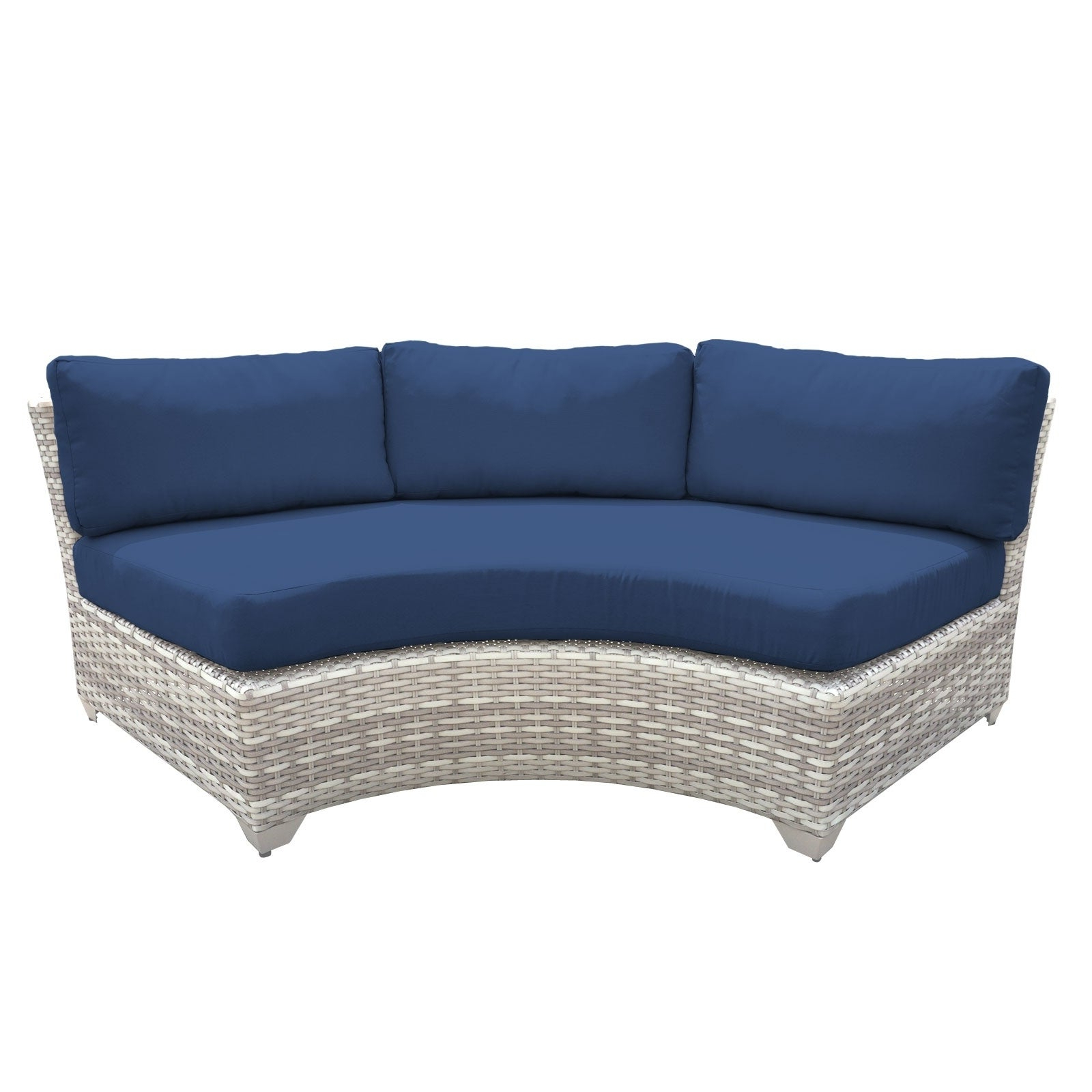 Catamaran 6 Piece Outdoor Patio Wicker Sectional With Fire Pit And Beverage  Ledges Regarding Well Known Baca Patio Sofas With Cushions (View 10 of 25)