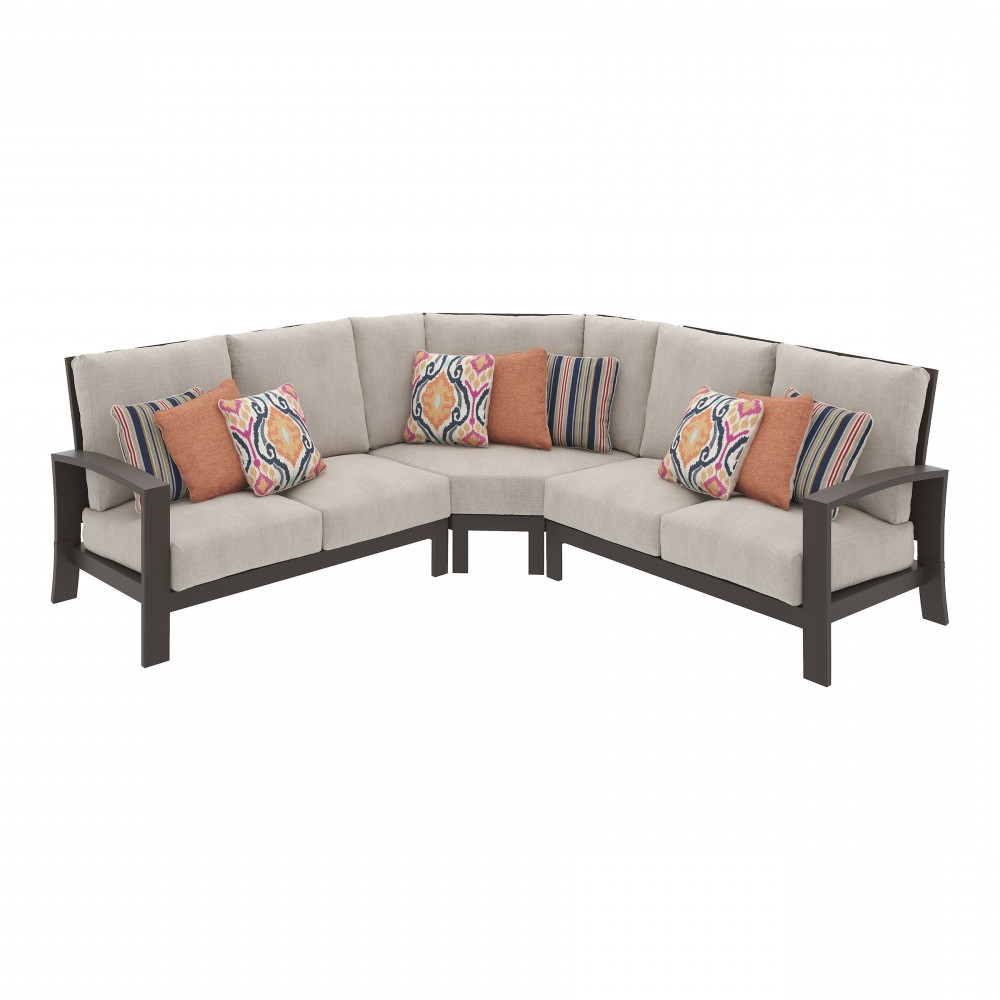 Cordova Reef 3 Piece Outdoor Seating Throughout Recent Catalina Outdoor Right Arm Sectional Pieces With Cushions (View 14 of 25)