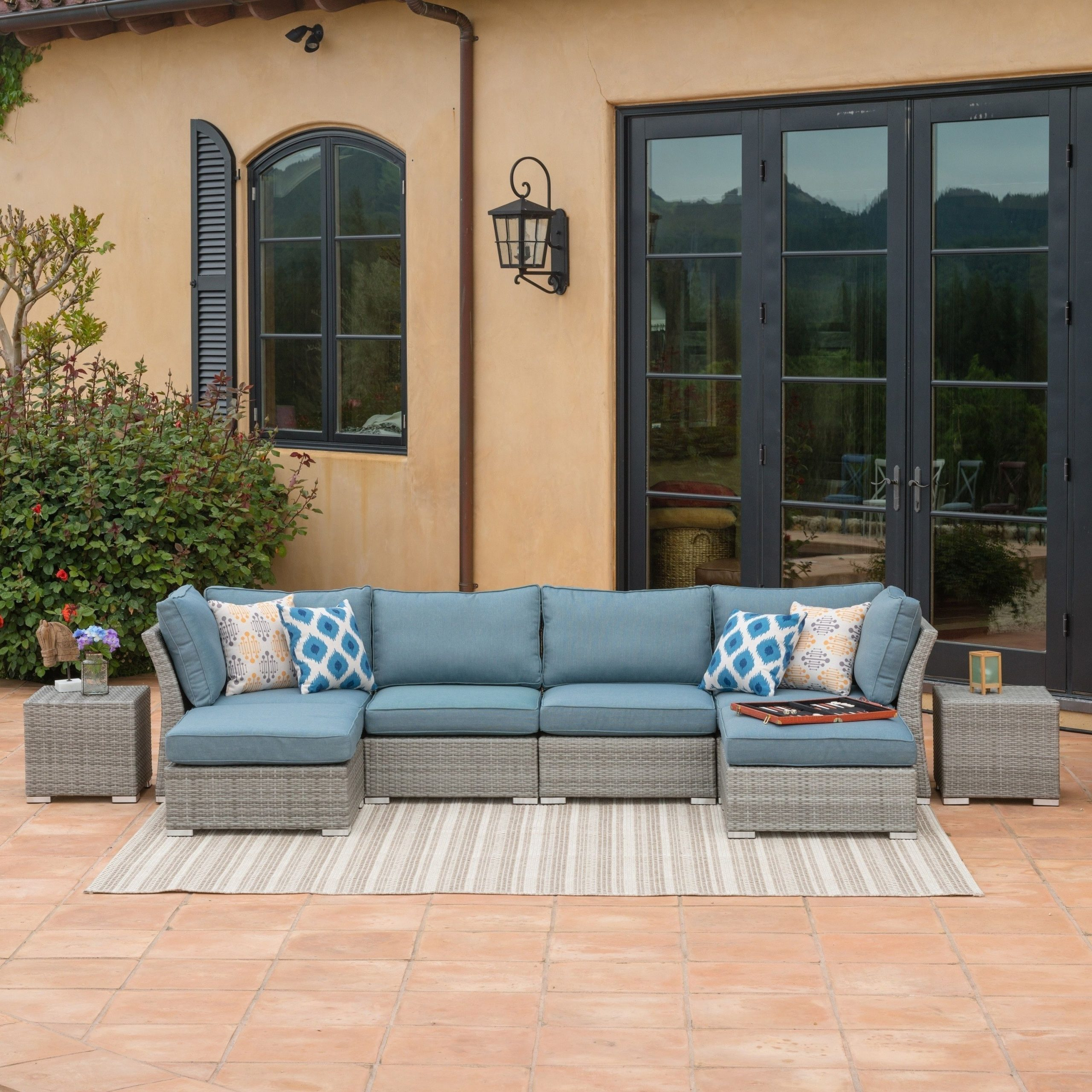 Corvus 8 Piece Grey Wicker Patio Furniture Set With Blue Throughout Popular Boyce Outdoor Patio Sectionals With Cushions (View 6 of 25)