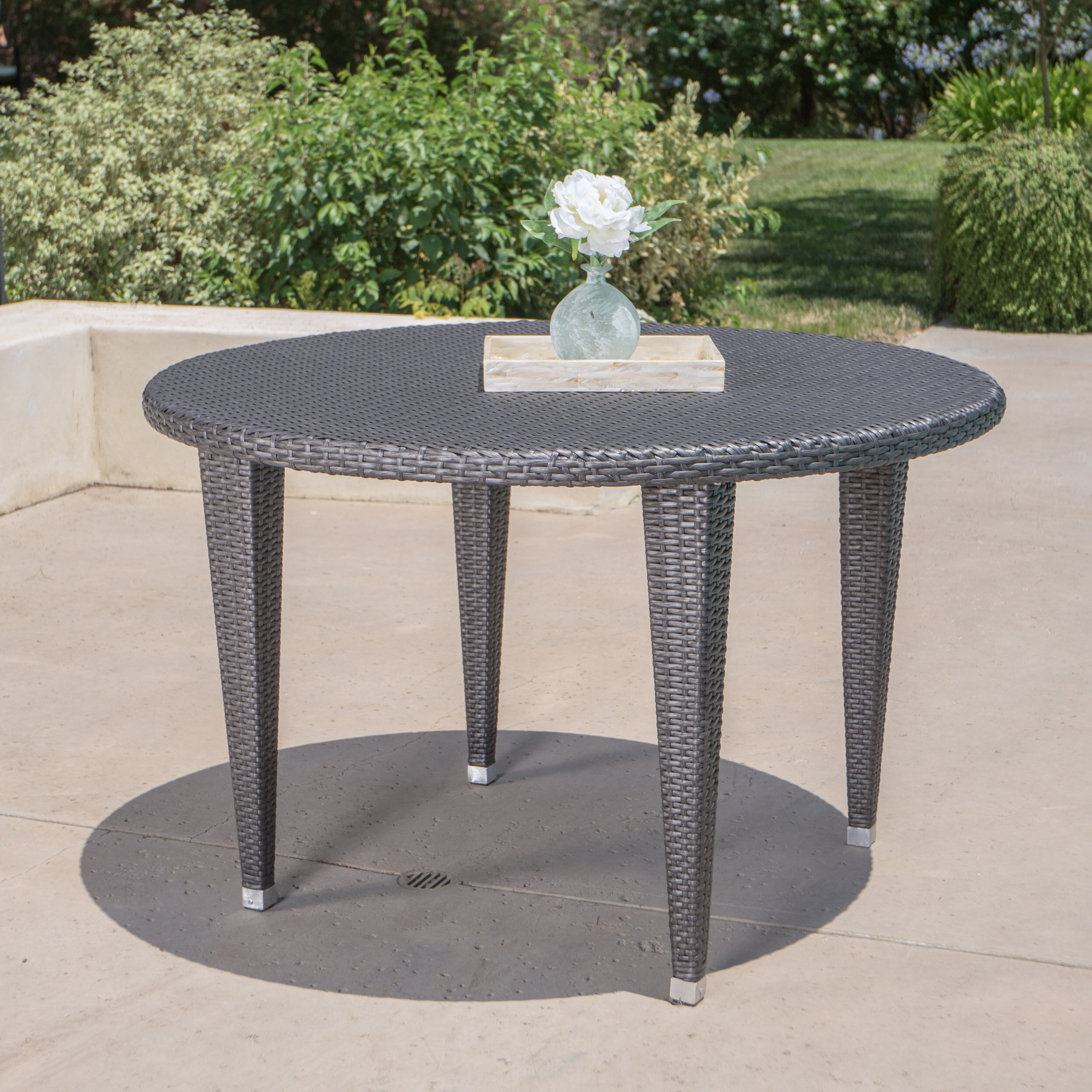 Crantor Wicker/rattan Dining Table Pertaining To Fashionable Letona Patio Sectionals With Cushions (View 21 of 25)