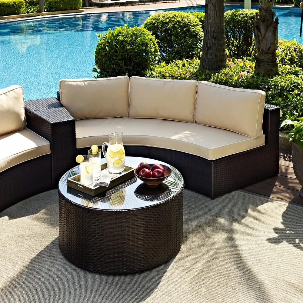 Crosley Catalina 2 Piece Wicker Outdoor Sofa Set With Sand Throughout 2020 Catalina Outdoor Sofas With Cushions (View 4 of 11)