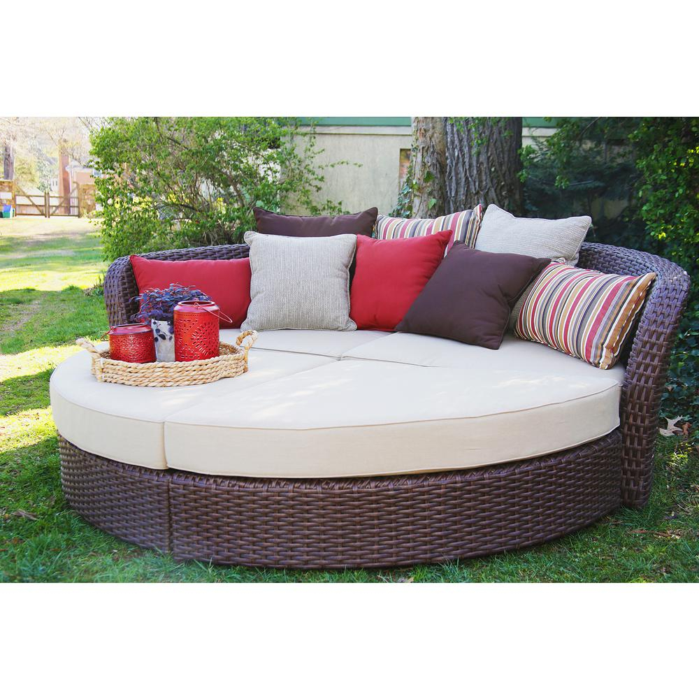 Current Ellanti Patio Daybeds With Cushions In Outdoor Day Bed Encourage Round Replacement Cushions (View 18 of 25)