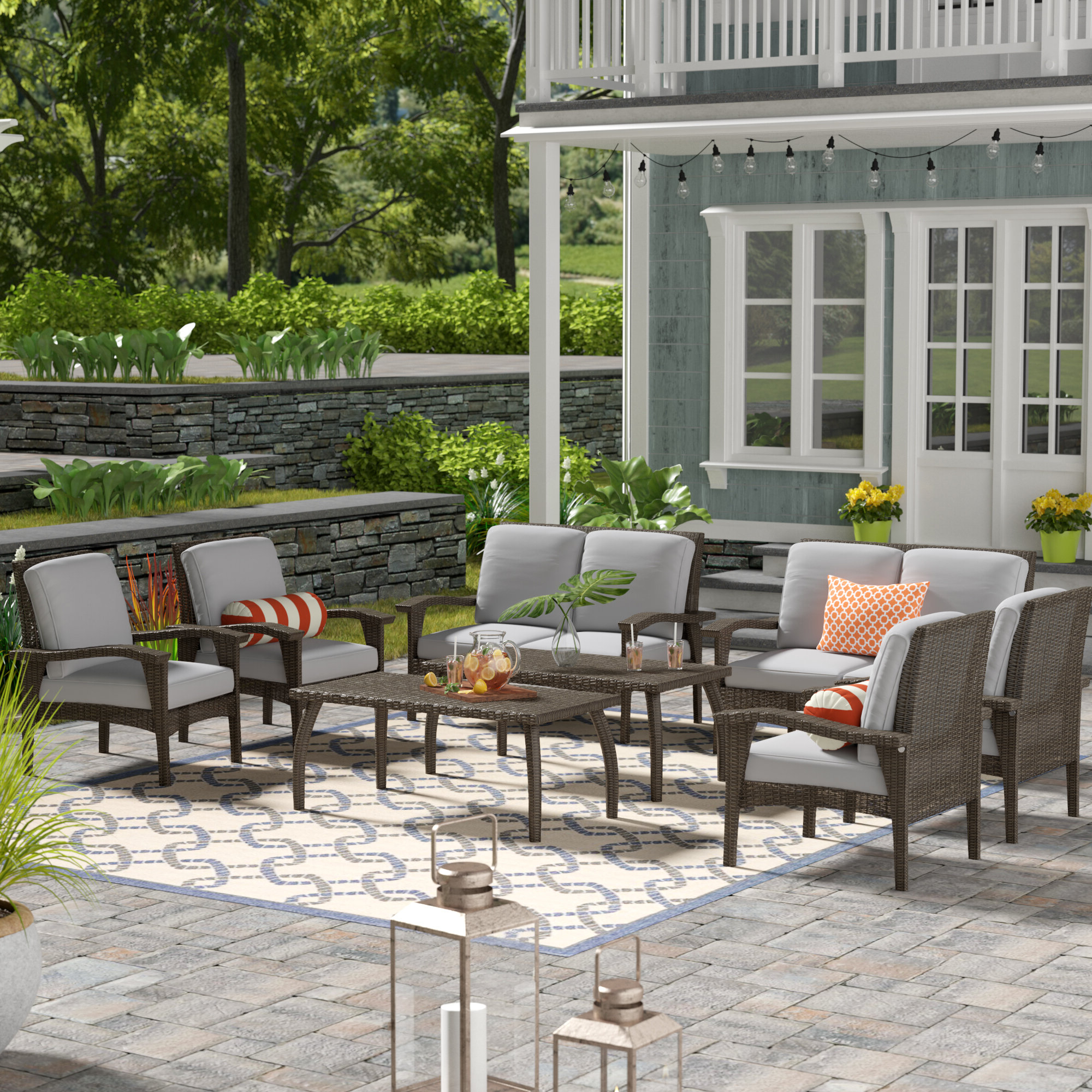 Current Hagler 8 Piece Sofa Seating Group With Cushions Within Hagler Outdoor Loveseats With Cushions (View 7 of 25)