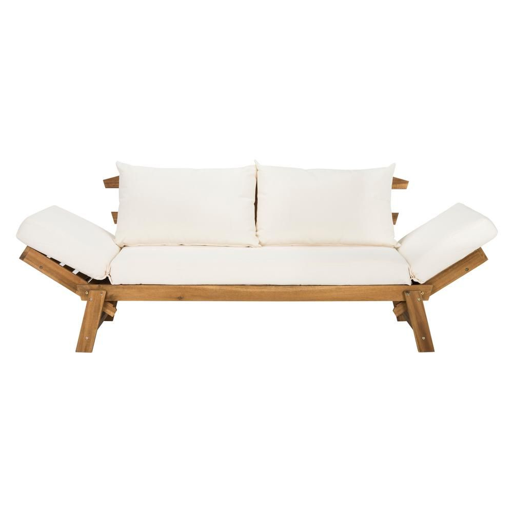 Current Safavieh Tandra Natural Brown Wood Outdoor Day Bed With Within Bodine Patio Daybeds With Cushions (View 9 of 25)