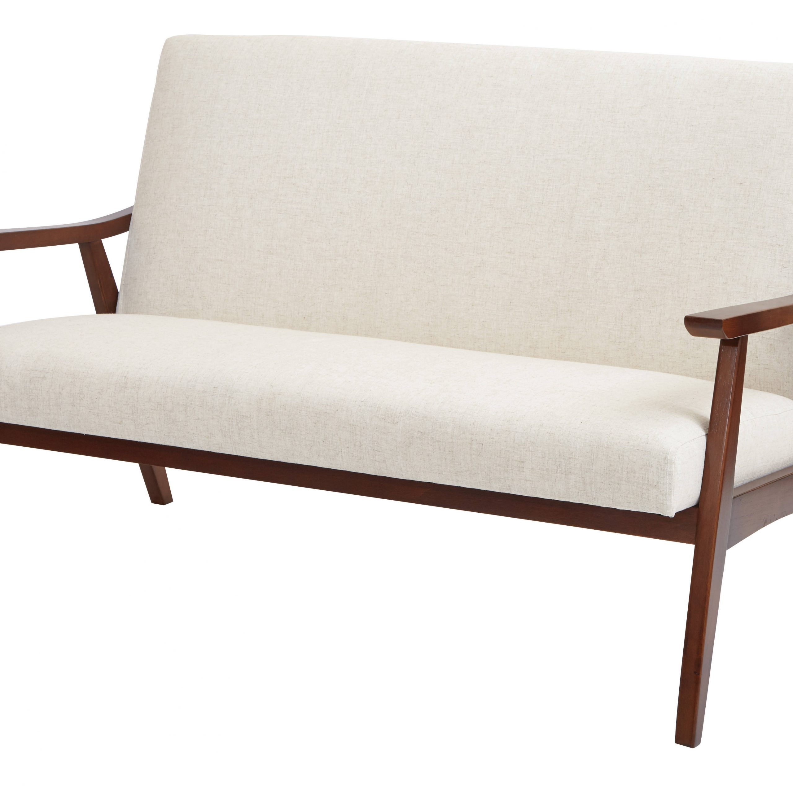 Davis Modern White Fabric Solid Wood Track Arm Cushion Back With Most Up To Date Dayse Contemporary Loveseats With Cushion (View 17 of 25)