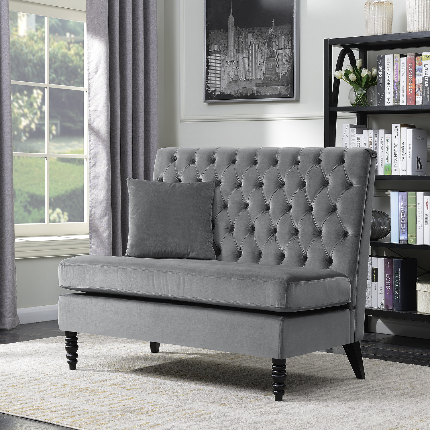 Dayse Contemporary Loveseats With Cushion Pertaining To Popular Details About New Modern Tufted Settee Bedroom Bench Sofa High Back Cushion Seat Fabric Velvet (View 14 of 25)