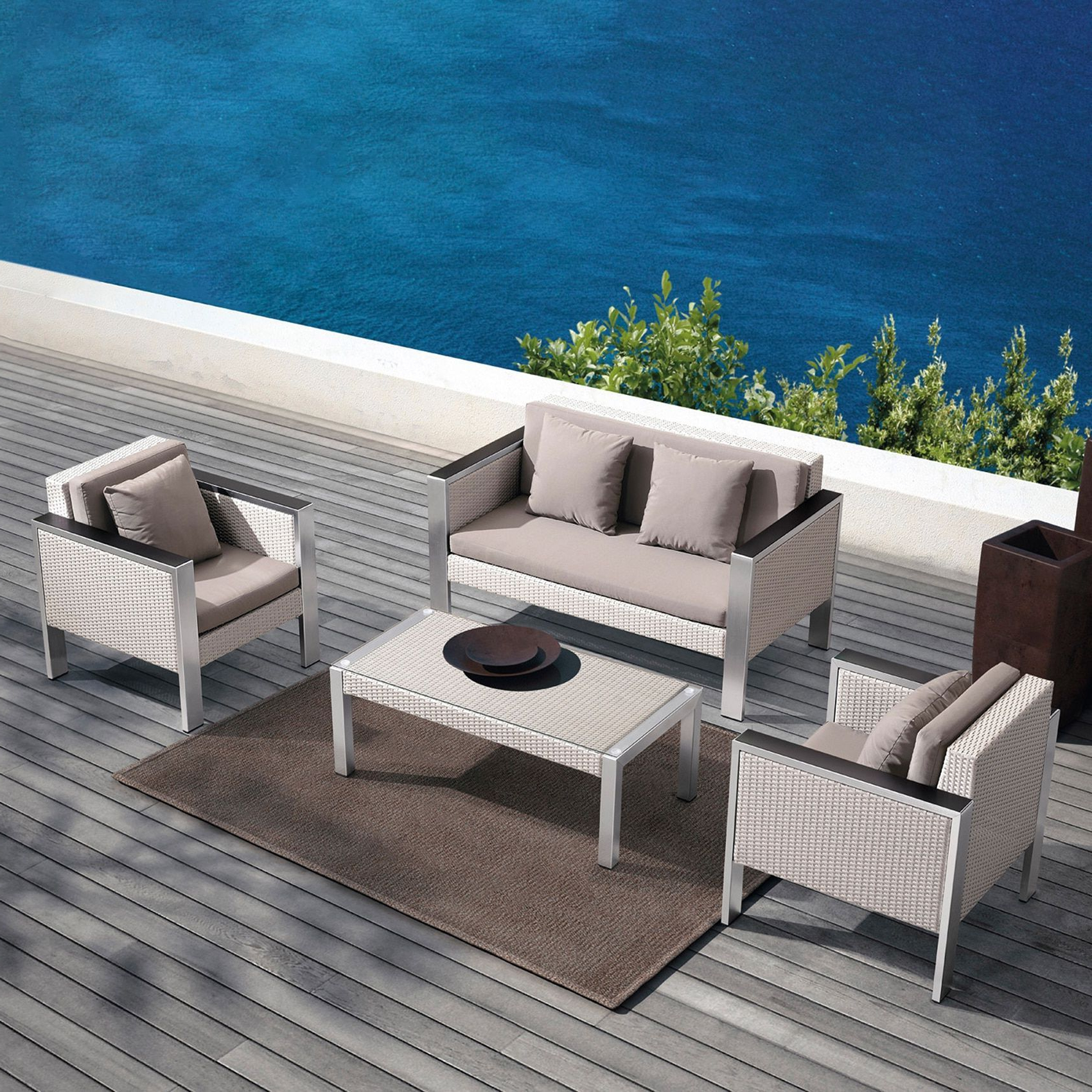 Deandra Loveseats With Cushions With Regard To Well Known Armen Living Watercube 4 Piece Outdoor White Rattan Set With (View 11 of 25)