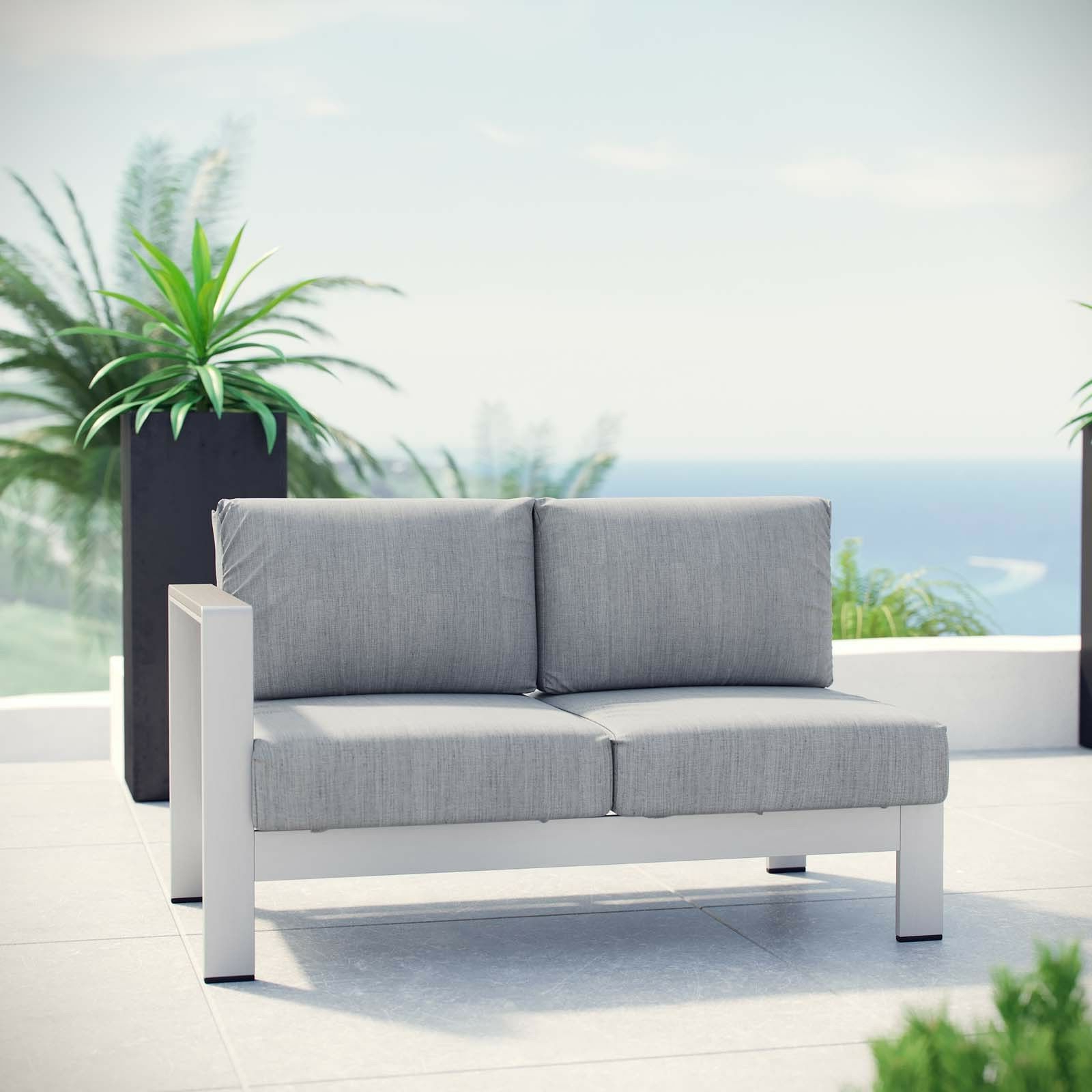 Details About Outdoor Patio Furniture Aluminum Sectional Right Arm Loveseat In Silver Gray Throughout Most Current Catalina Outdoor Right Arm Sectional Pieces With Cushions (View 9 of 25)