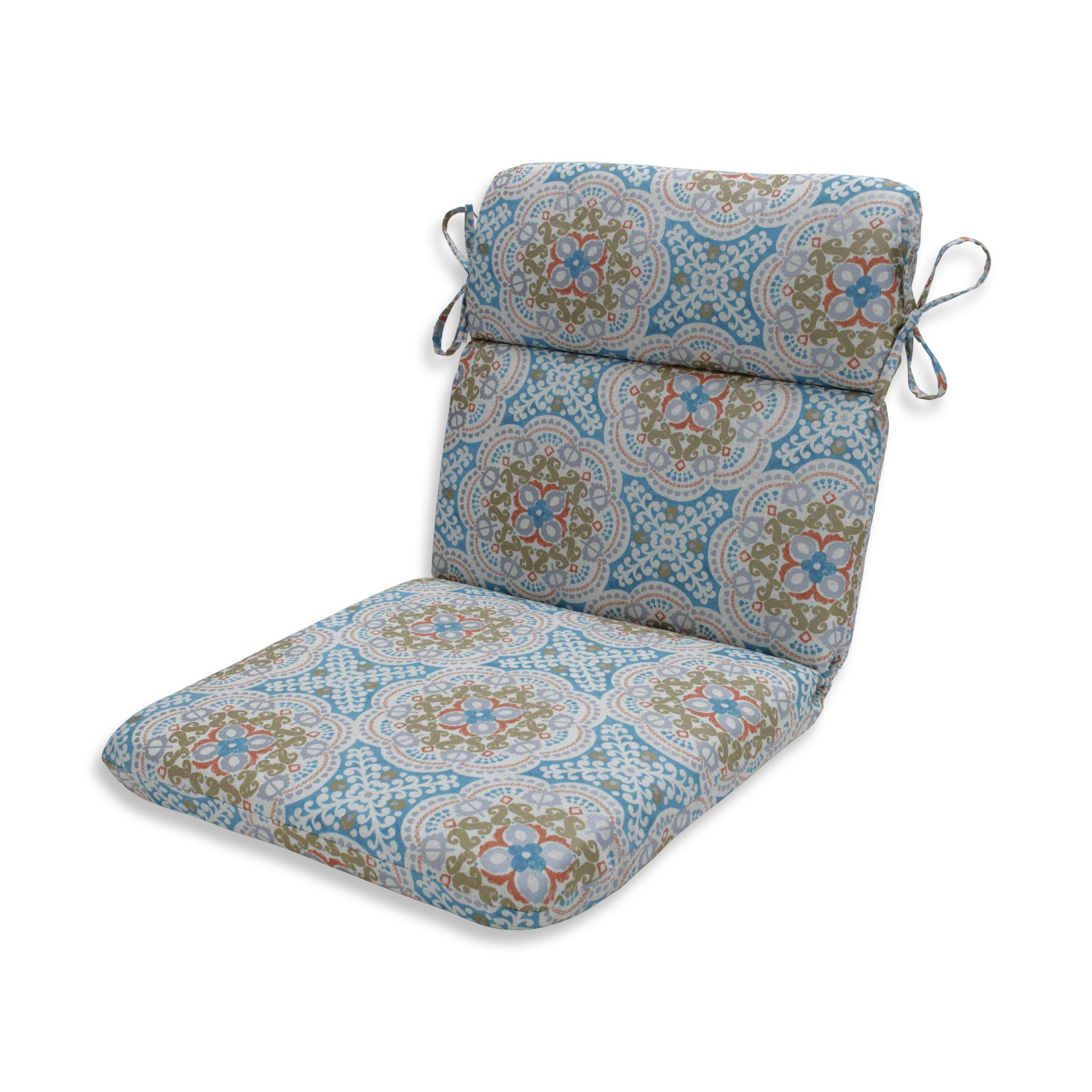 Details About Pillow Perfect Outdoor / Indoor Astrid Aqua Blue Rounded Corners Chair Cushion Pertaining To Most Up To Date Astrid Wicker Patio Sofas With Cushions (View 15 of 25)