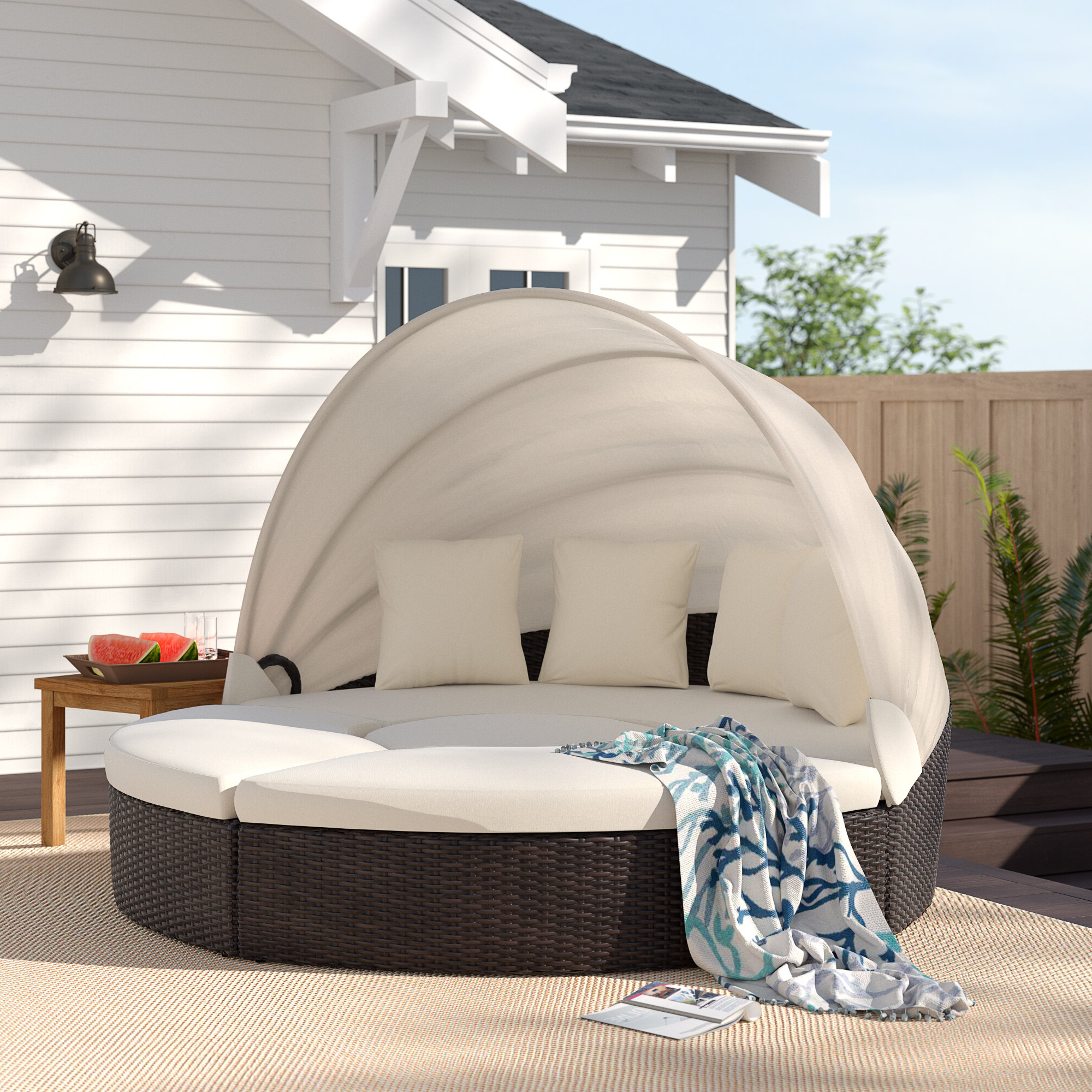 Dowling Patio Daybeds With Cushion In Fashionable Antigua Patio Daybed With Cushions (View 7 of 25)
