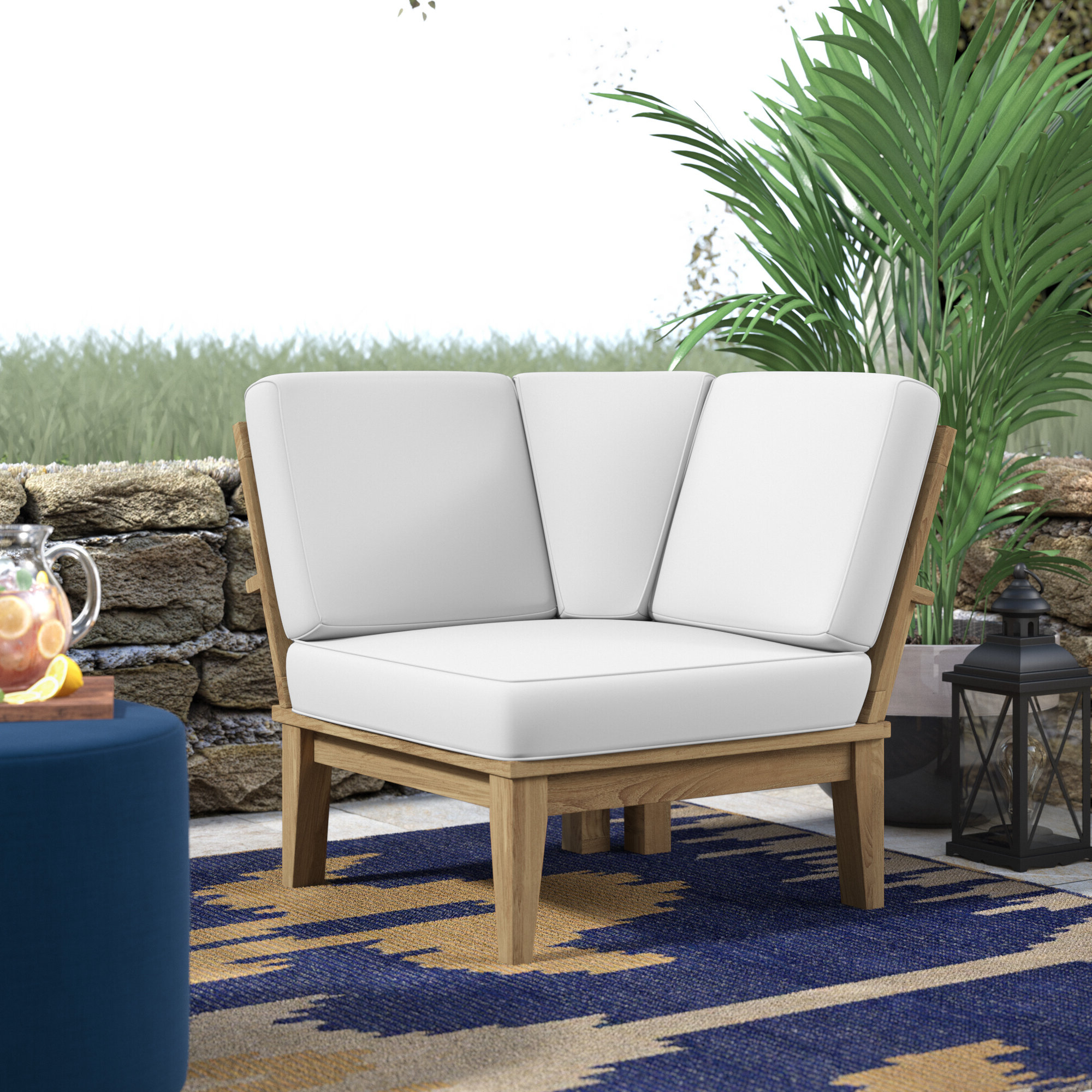 Elaina Teak Patio Chair With Cushions With Regard To Preferred Brunswick Teak Patio Sofas With Cushions (View 21 of 25)