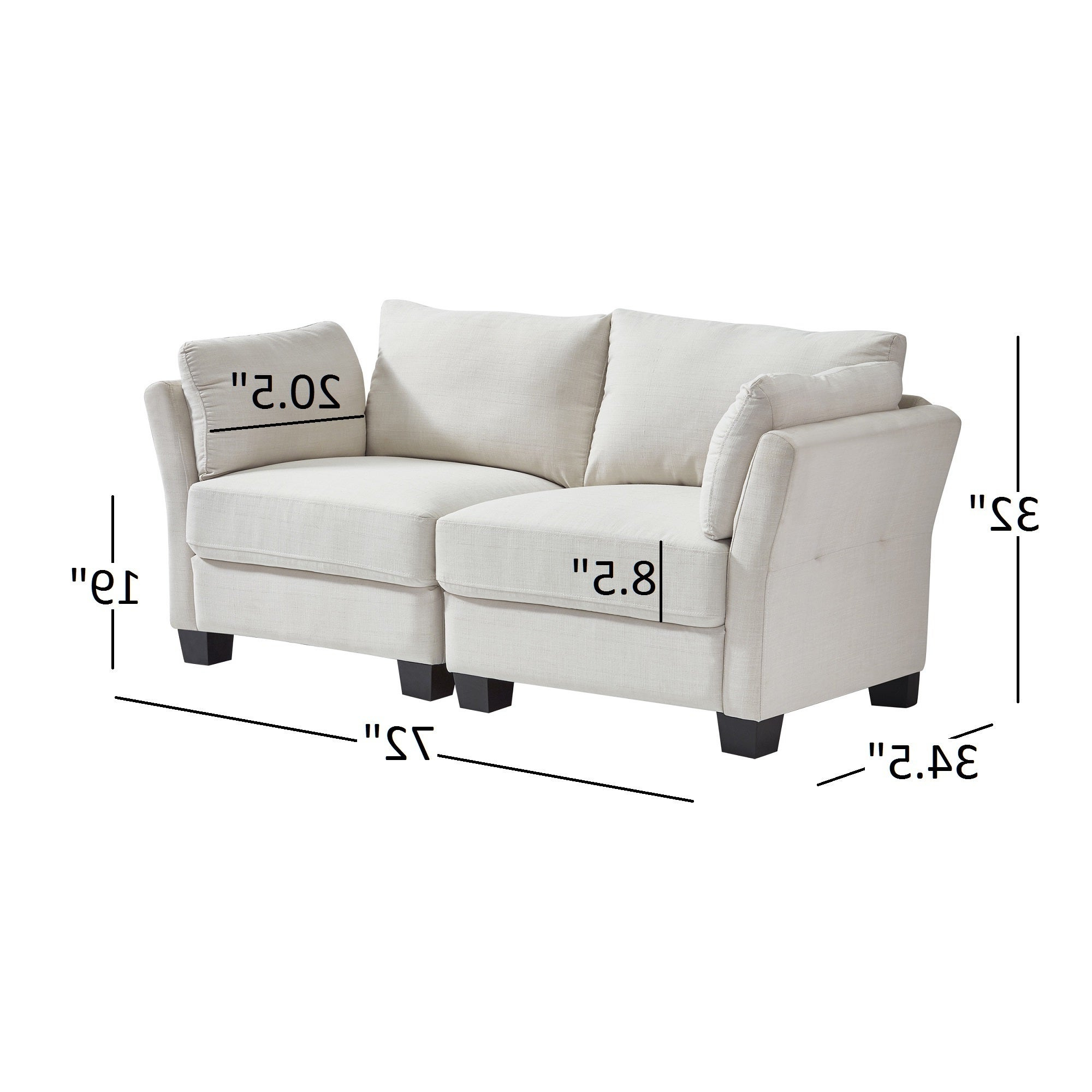 Elize Modern Linen Fabric Loveseatinspire Q Bold With Regard To Most Up To Date Dayse Contemporary Loveseats With Cushion (View 23 of 25)