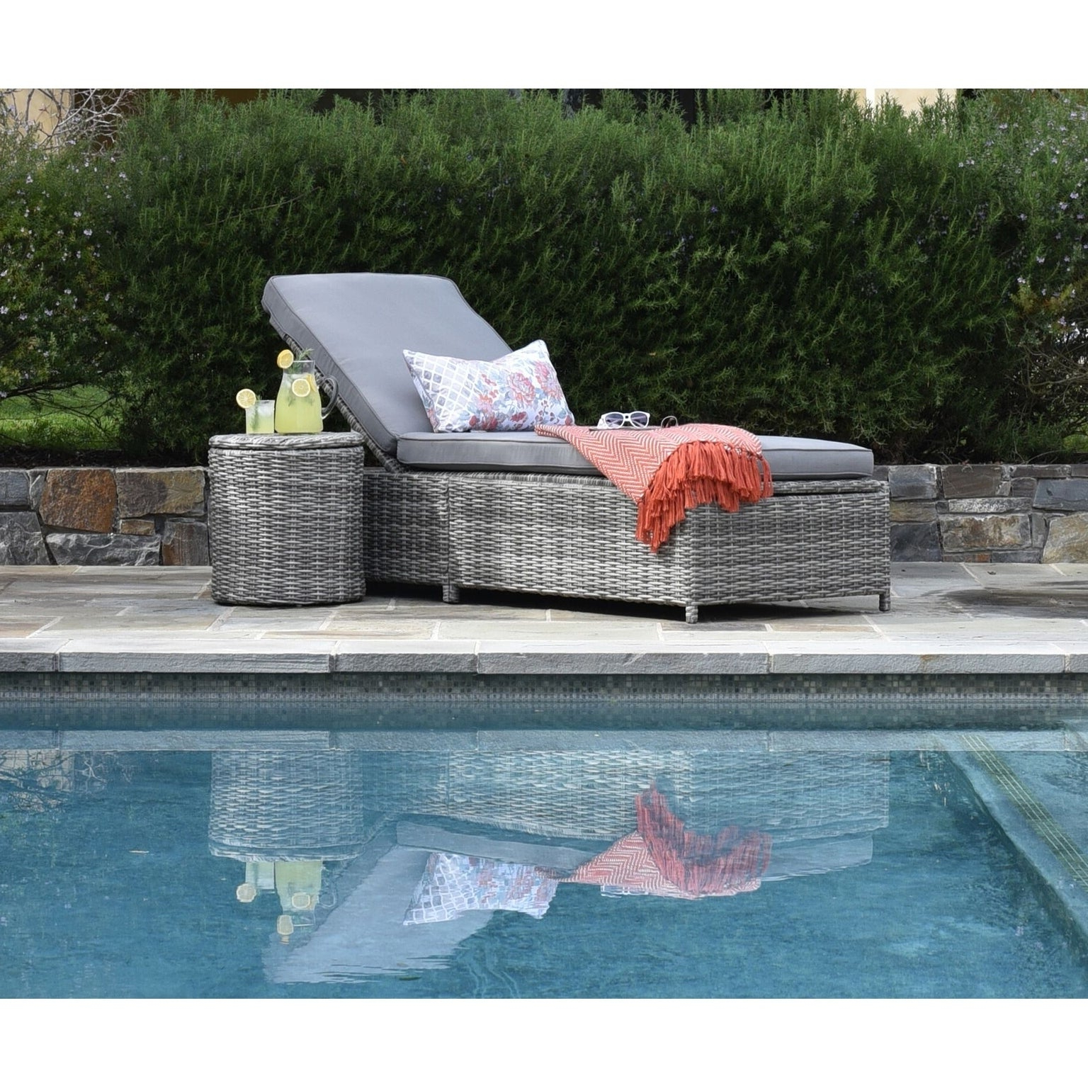 Elle Decor Vallauris Outdoor Storage Chaise Lounge Gray Wicker For Most Recent Vallauris Storage Patio Sectionals With Cushions (View 15 of 25)