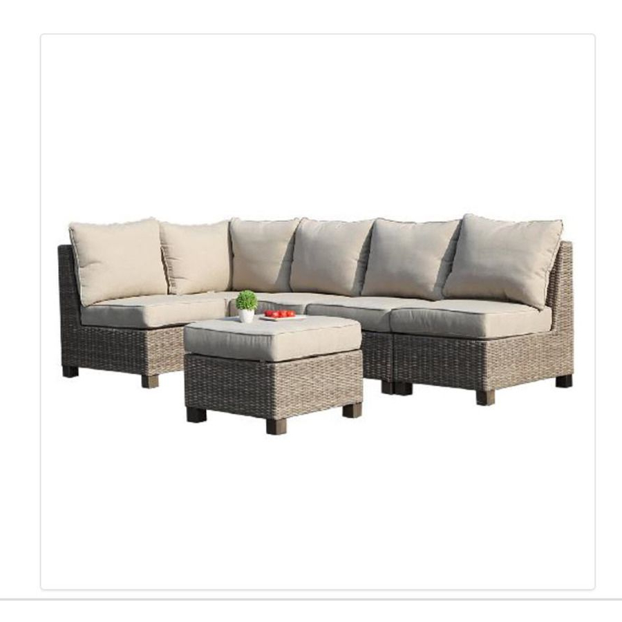 Famous Burruss Patio Sectionals With Cushions Throughout Allen Roth Sea Palms 6 Piece Warm Gray Wicker Sectional (View 23 of 25)