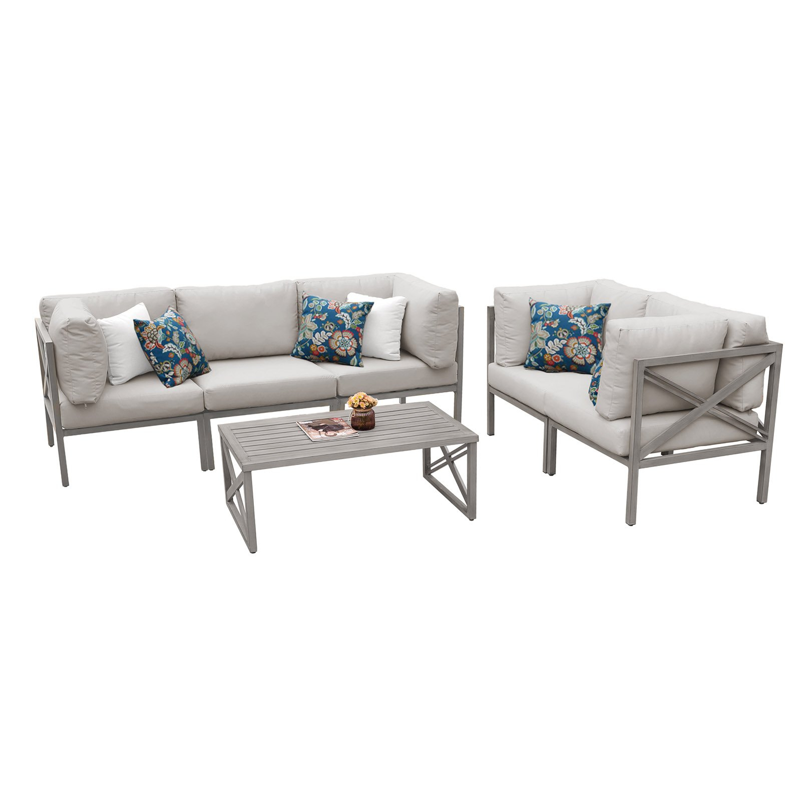 Famous Carlisle Patio Sofas With Cushions Intended For Outdoor Tk Classics Carlisle Aluminum 6 Piece Patio Sofa And (View 13 of 25)