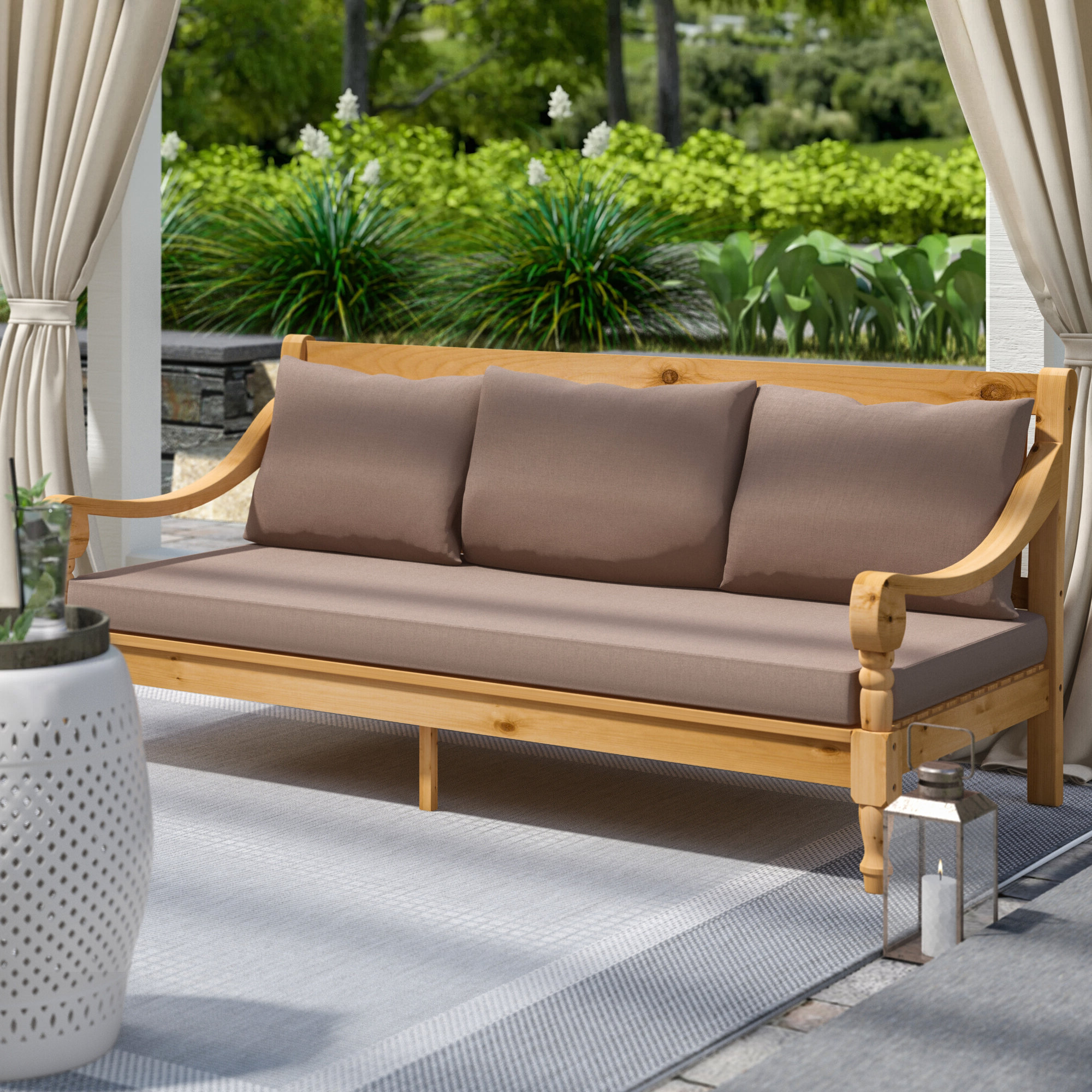 Famous Ellanti Patio Daybeds With Cushions Pertaining To Beachcrest Home Roush Teak Patio Daybed With Cushions (View 7 of 25)