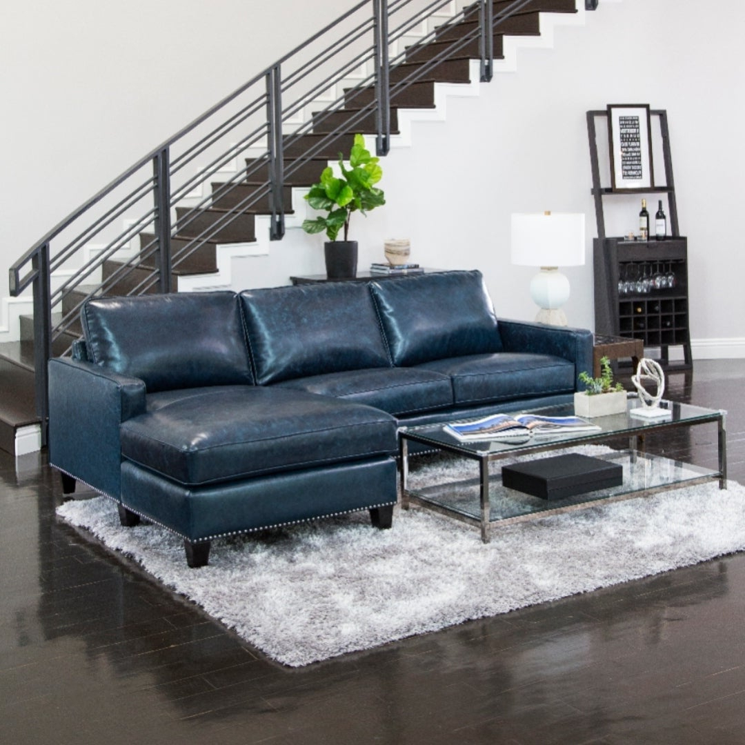 Famous Landis Loveseats With Cushions Pertaining To Details About Abbyson Landis Top Grain Leather Sectional Blue (View 14 of 25)