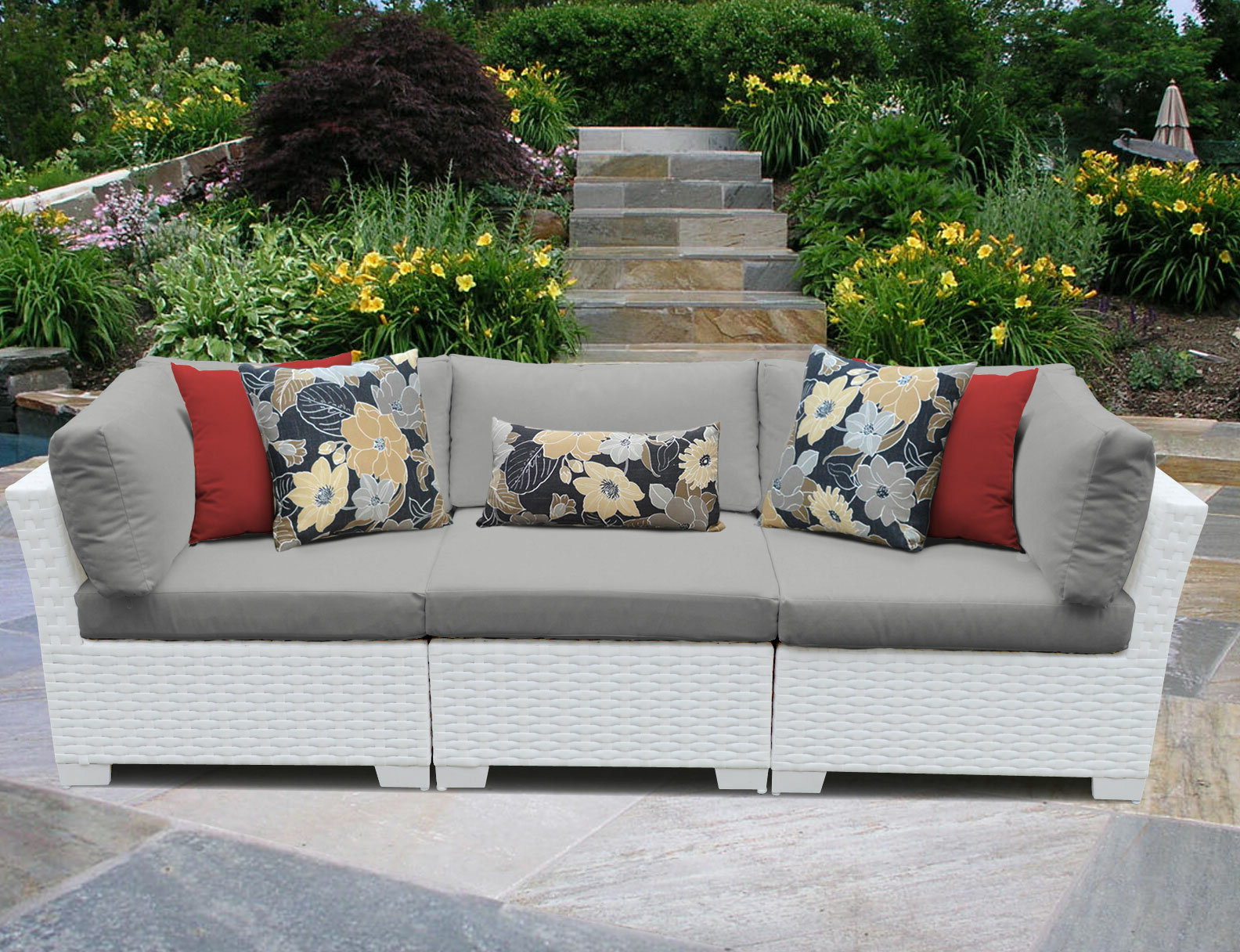 Famous Monaco Patio Sofa With Cushions Throughout Vallauris Storage Patio Sectionals With Cushions (View 19 of 25)