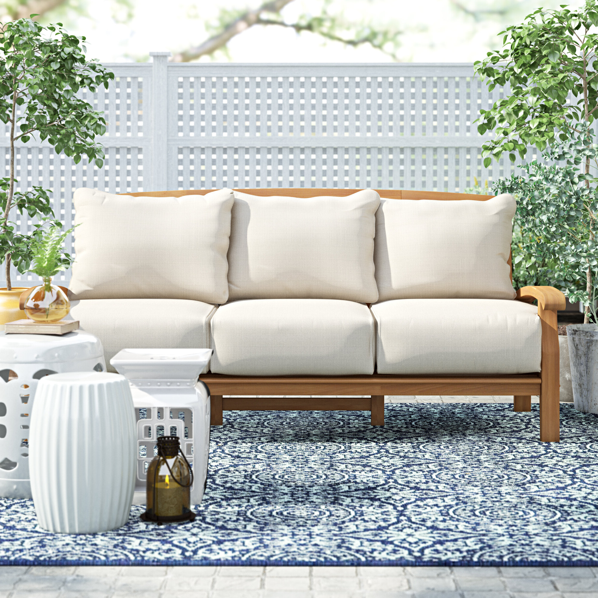 Famous O'kean Teak Patio Sofas With Cushions Pertaining To Summerton Teak Patio Sofa With Cushions (View 9 of 25)