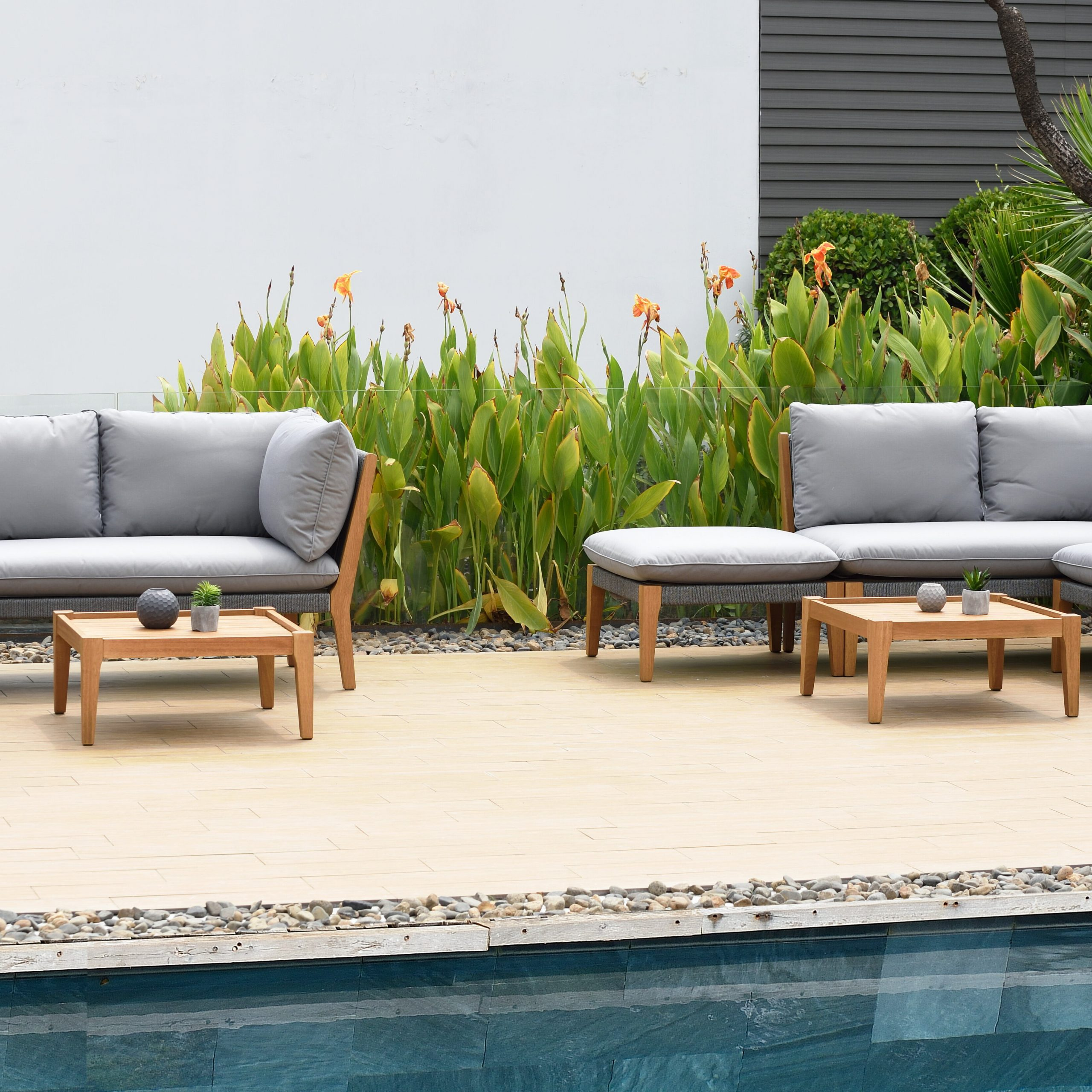 Famous Olinda 3 Piece Sectionals Seating Group With Cushions Inside Olinda 8 Piece Teak Sectional Seating Group With Cushions (View 2 of 25)