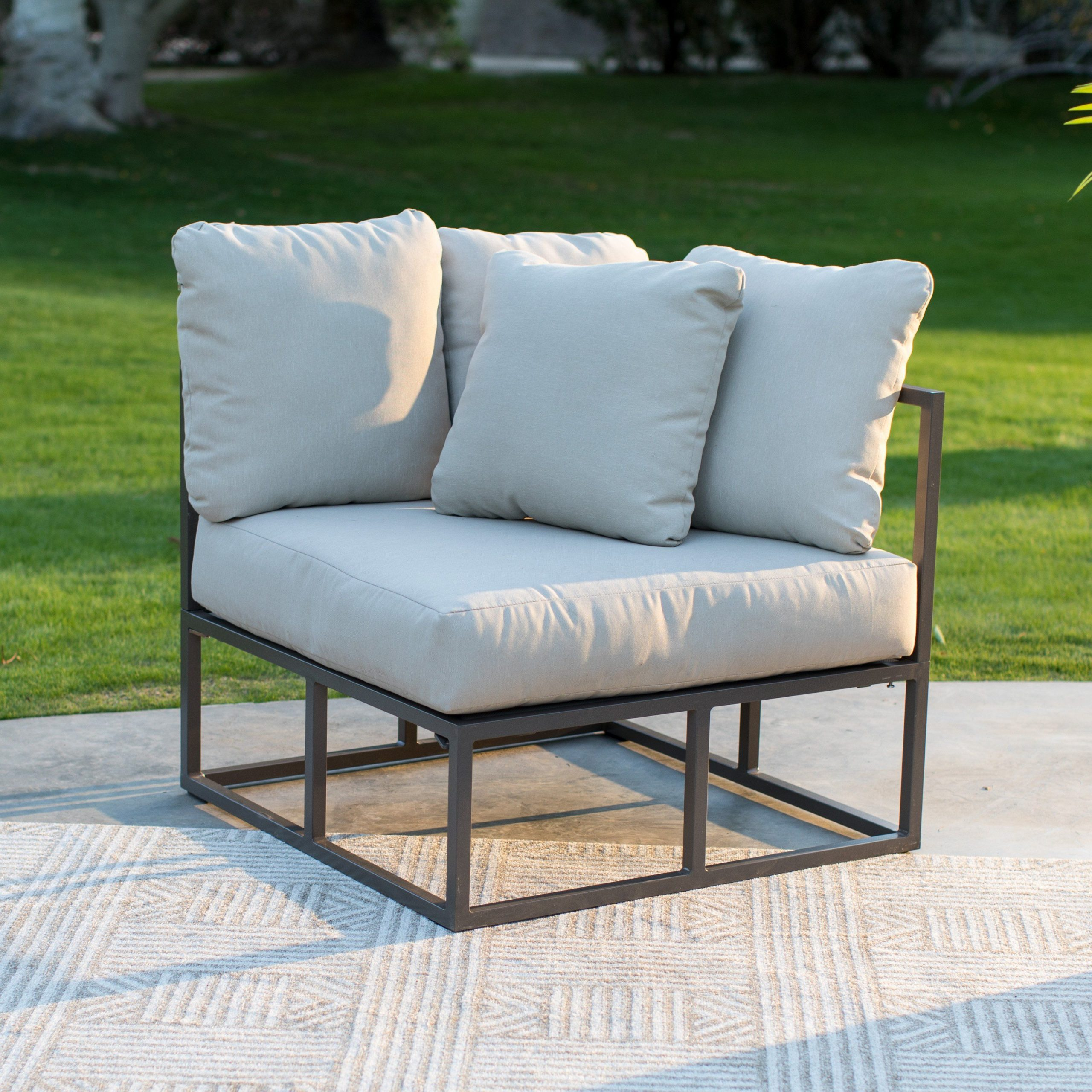 Famous Repp Patio Sofas With Cushion Regarding Belham Living Bonaire Aluminum Outdoor Corner Sectional (View 3 of 25)