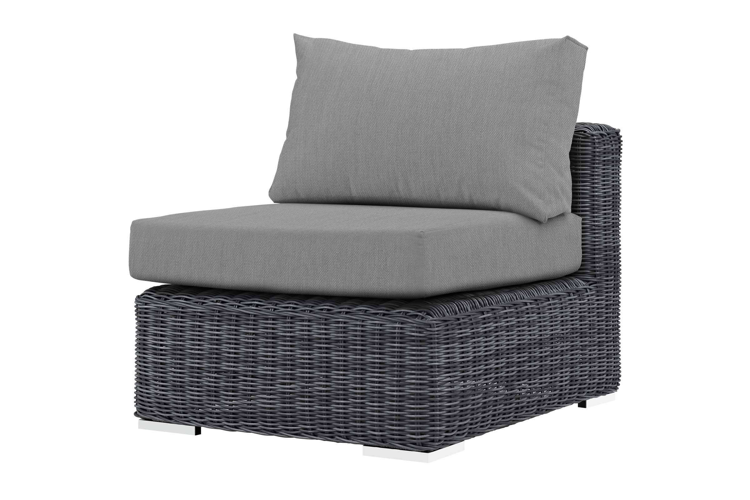 Famous Rossville Outdoor Patio Sofas With Cushions Intended For Summon Outdoor Patio Wicker Rattan Sunbrella Armless In Grey (View 25 of 25)