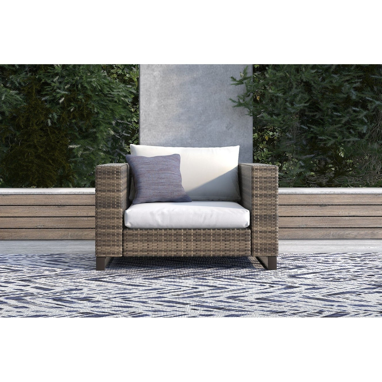 Famous Tommy Hilfiger Oceanside Outdoor Arm Chair, Gray Wicker Regarding Oceanside Outdoor Wicker Loveseats With Cushions (View 3 of 25)
