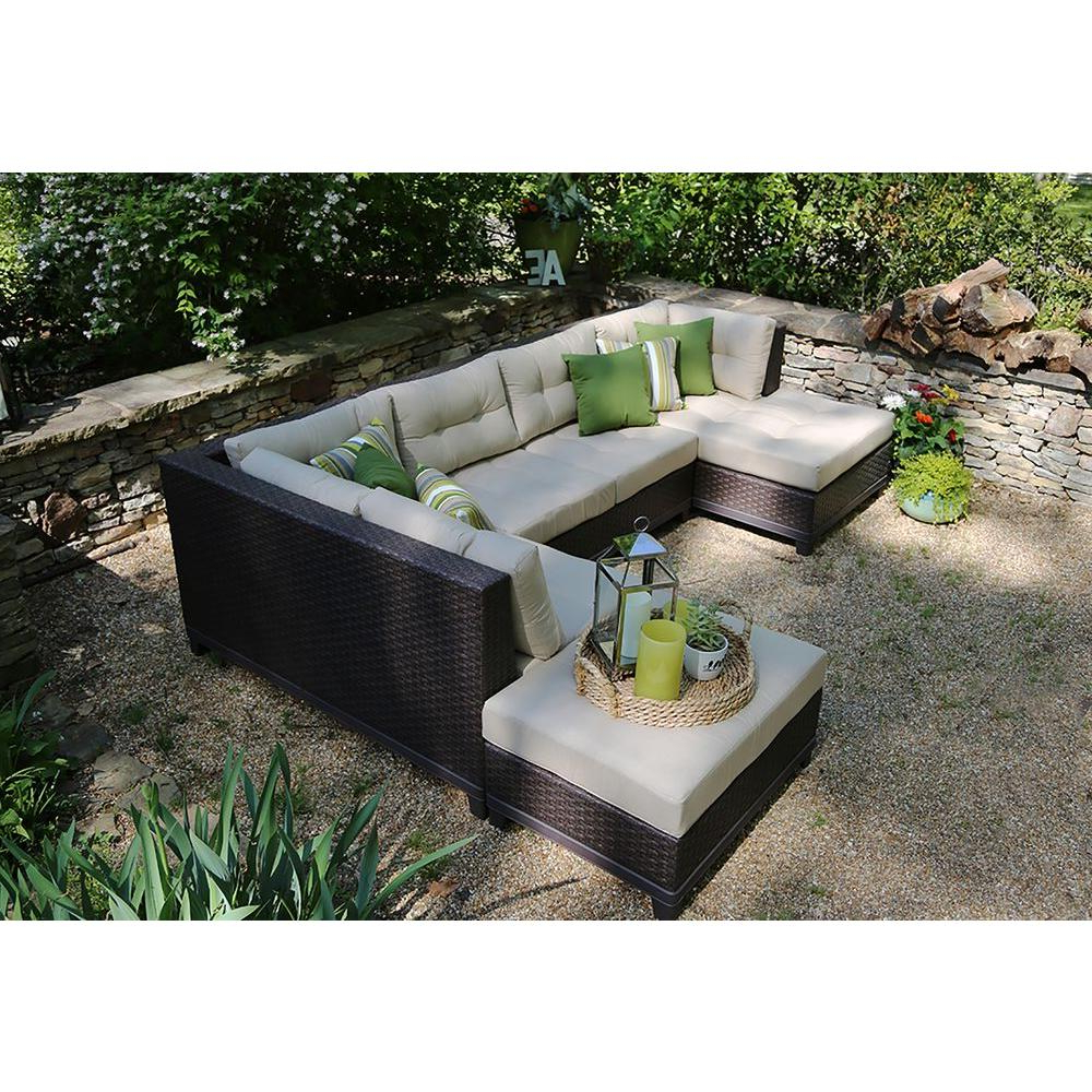 Fashionable 4 Piece Sierra Sunbrella Seating Group For Ae Outdoor Hillborough 4 Piece All Weather Wicker Patio Sectional With Sunbrella Fabric (View 21 of 25)