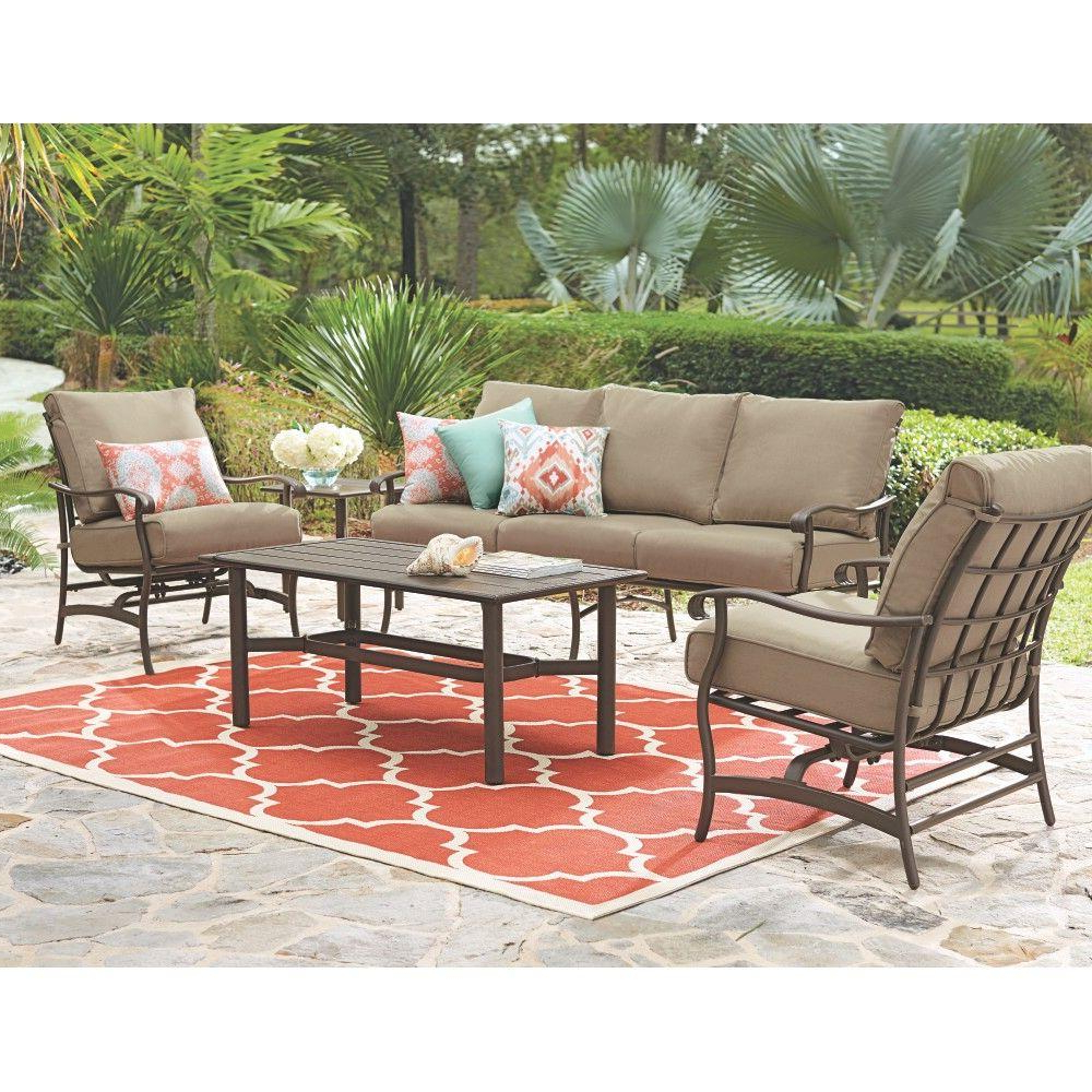 Fashionable 4 Piece Sierra Sunbrella Seating Group Pertaining To Hampton Bay Mill Valley 4 Piece Patio Sectional Set With (View 5 of 25)