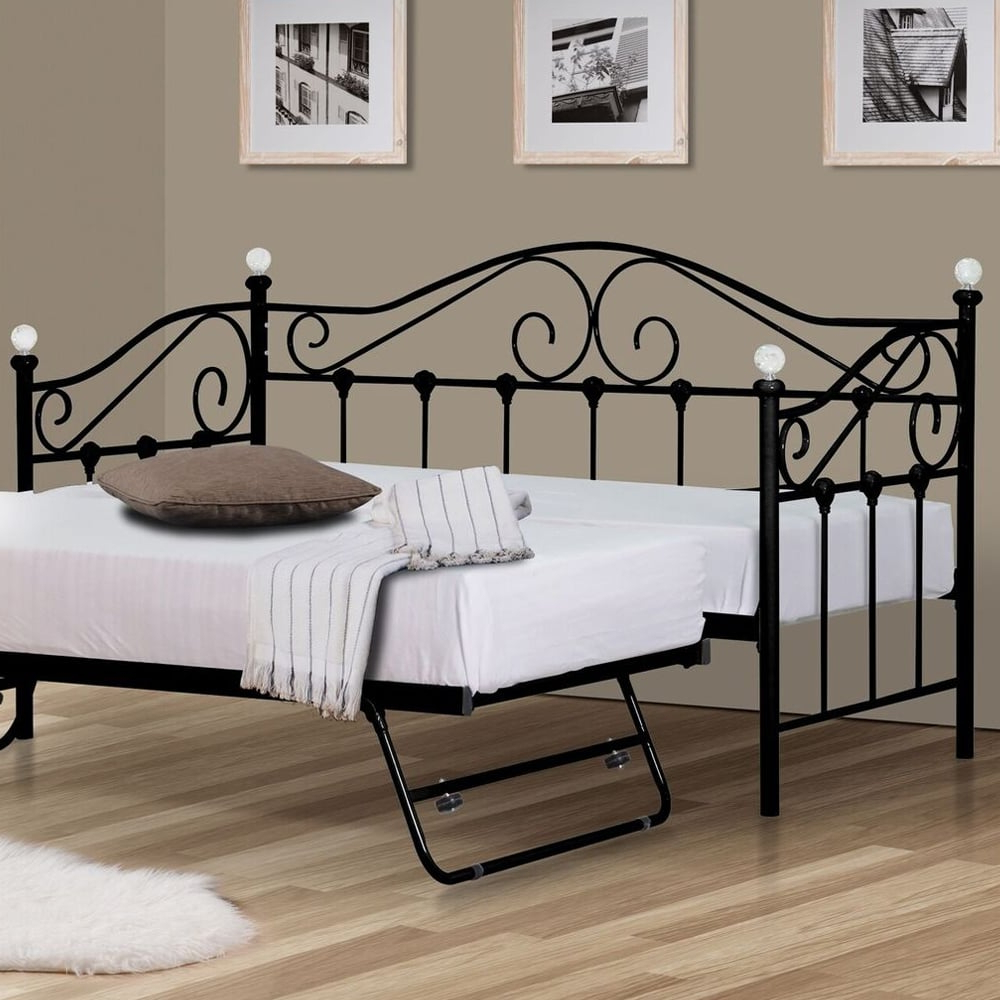 Fashionable Bishop Daybeds Within Harmony Vienna Daybed 3ft Single Black Metal Bed (View 24 of 25)