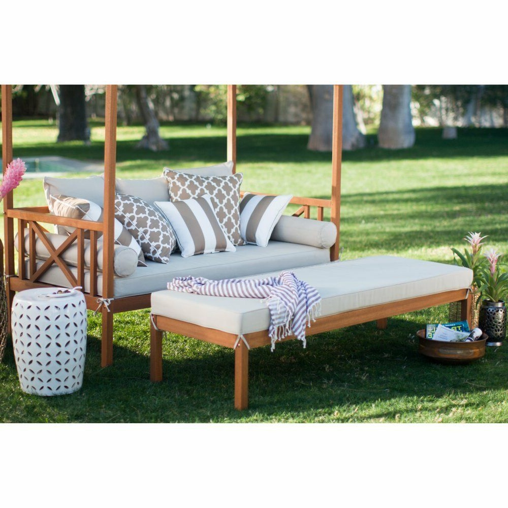 Fashionable Khaki Cushion Patio Daybed Ottoman Set Outdoor Home Furniture Garden Backyard Throughout Naperville Patio Daybeds With Cushion (View 3 of 25)
