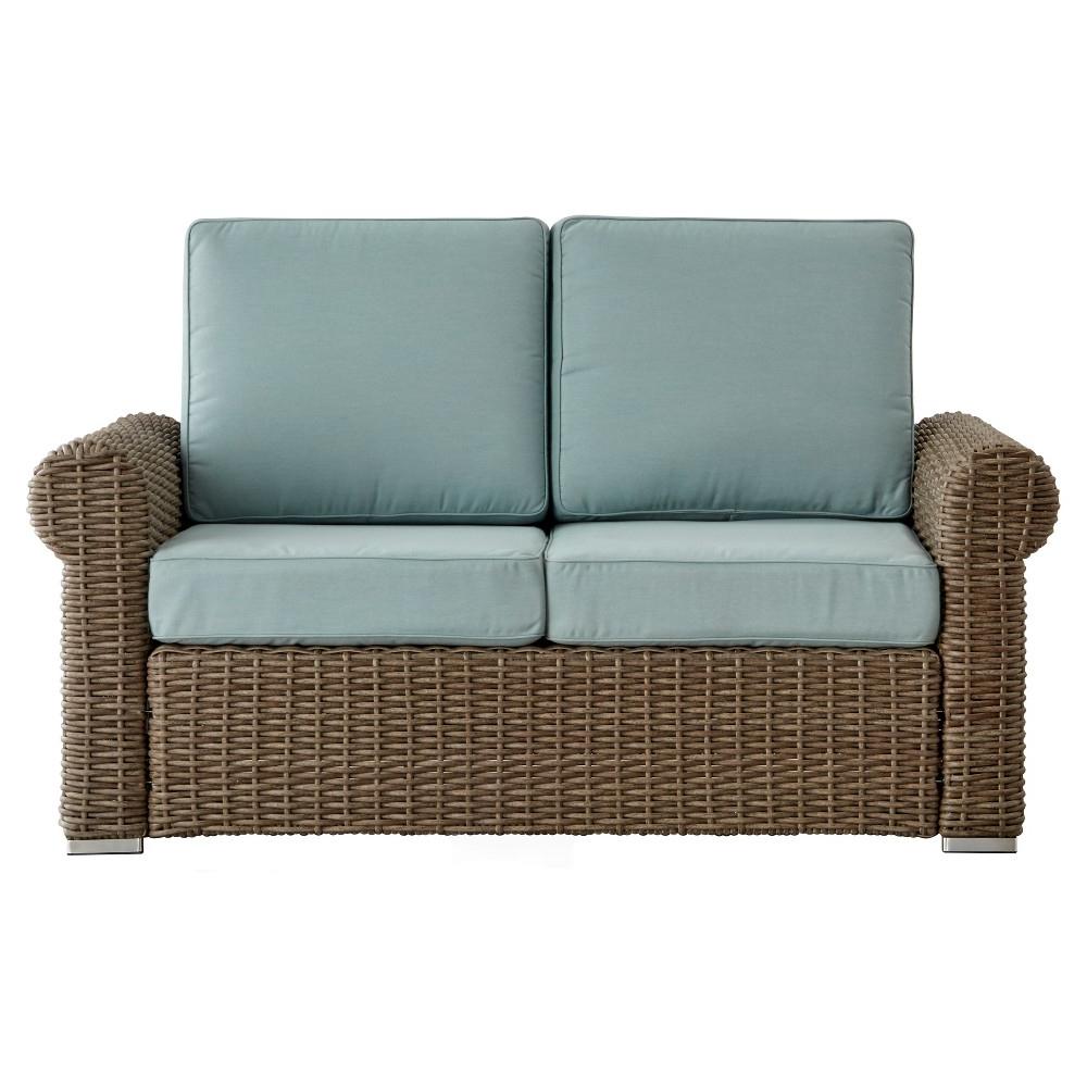Fashionable Riviera Pointe Wicker Patio Round Arm Loveseat With Cushions Regarding Lawson Wicker Loveseats With Cushions (View 13 of 25)