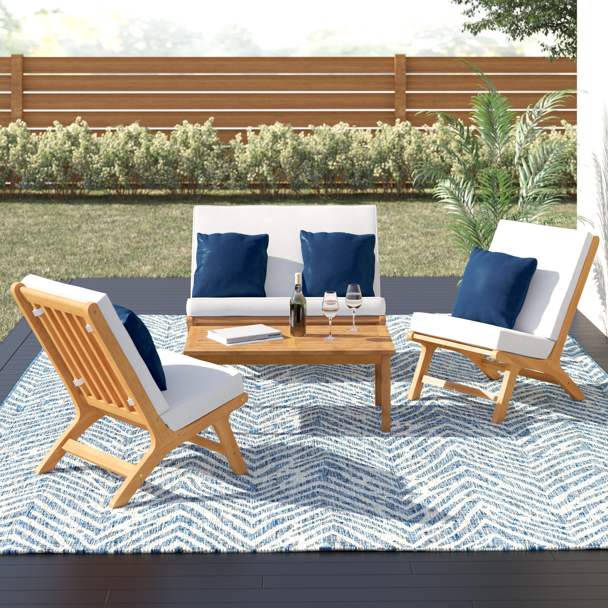 Fashionable Trent Austin Design Cortney 4 Piece Sofa Seating Group With Cushions With Regard To Olinda 4 Piece Teak Sectionals Seating Group With Cushions (View 17 of 25)