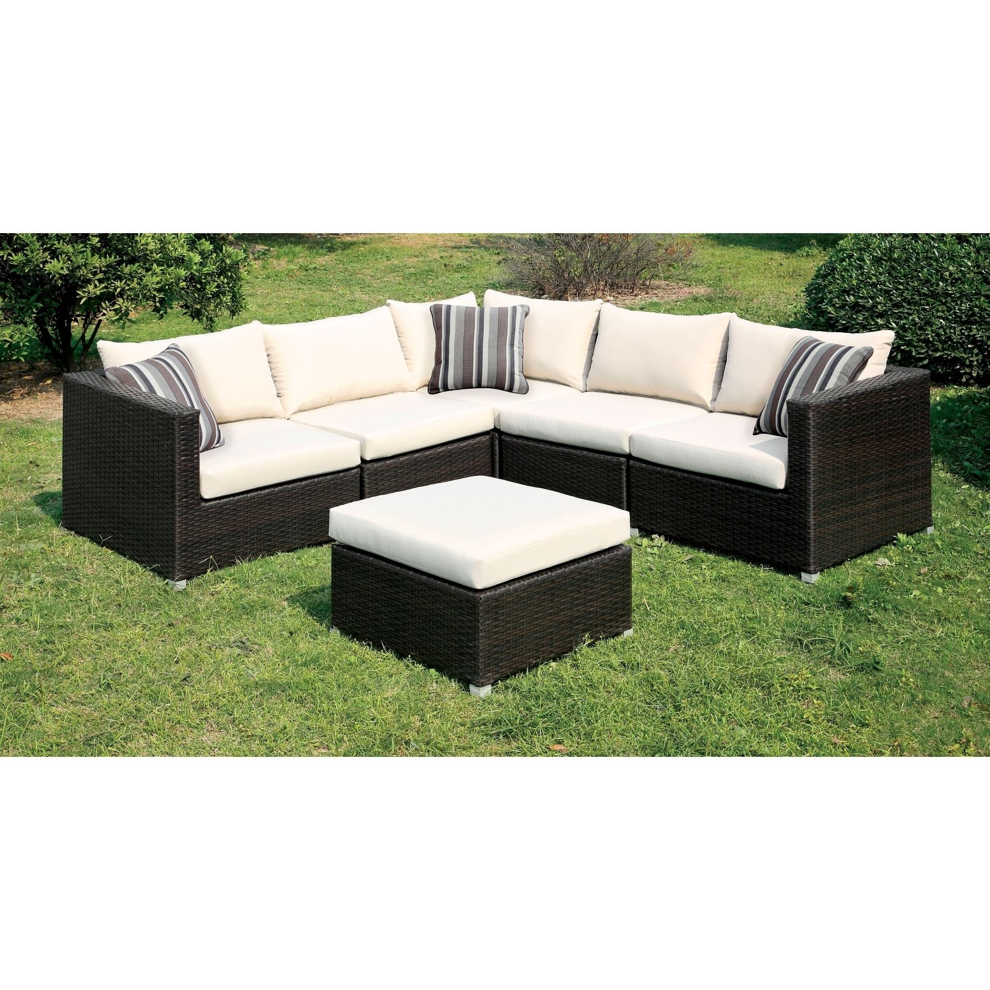 Favorite Baca Patio Sofas With Cushions With Regard To Furniture Of America Baca Patio Sectional And Ottoman Set, Ivory (View 12 of 25)