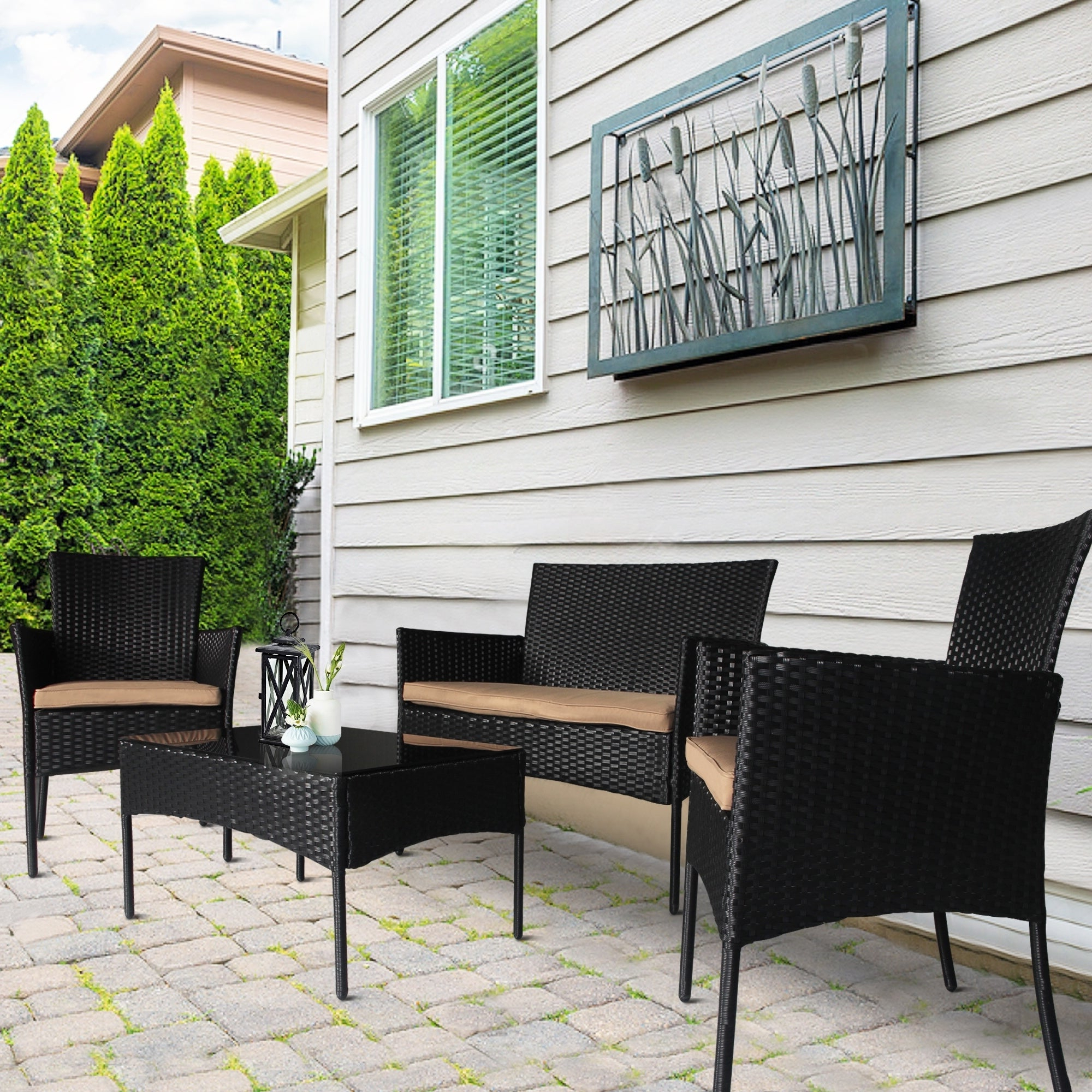 Favorite Boyce Outdoor Patio Sectionals With Cushions Regarding Boyce 4 Piece Wicker Rattan Conversation Set (View 10 of 25)