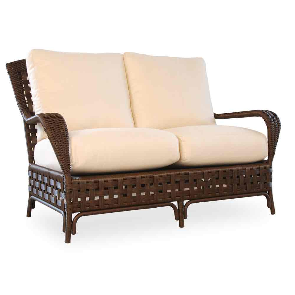 Favorite Kari Loveseats With Sunbrella Cushions Intended For Haven Outdoor Wicker Loveseat (View 7 of 25)