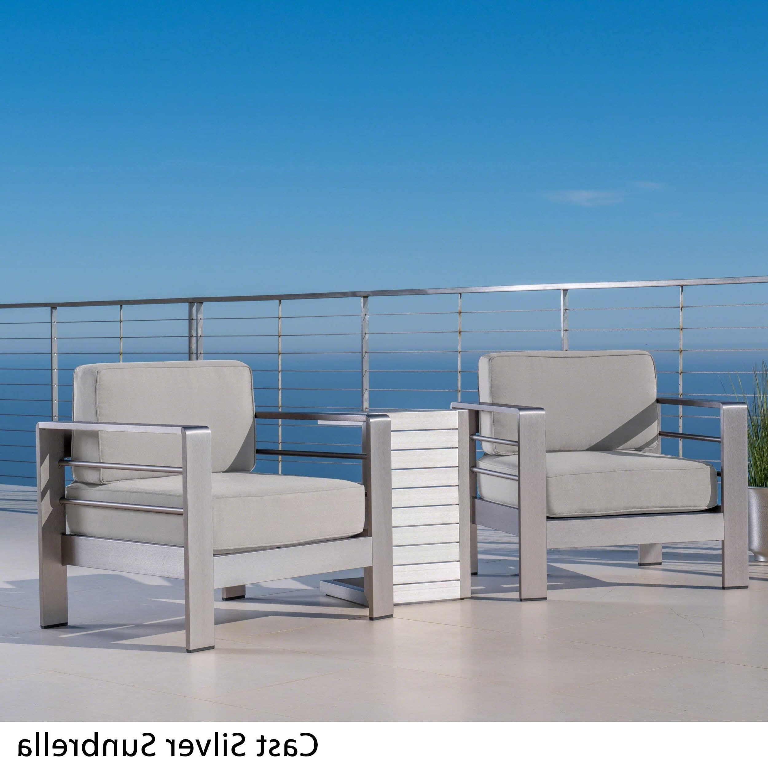 Favorite Menifee Loveseats With Cushions Inside Cape Coral Outdoor 3 Piece Aluminum Seating Set With (View 14 of 25)