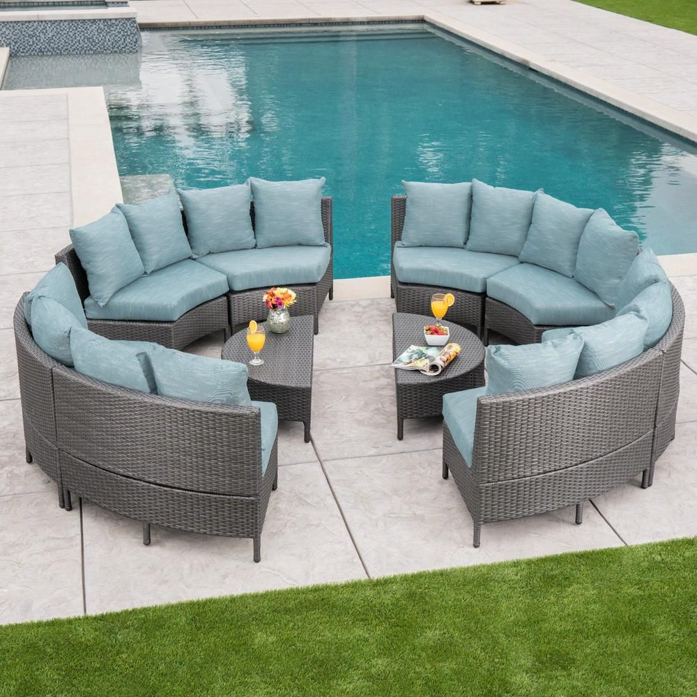 Favorite Tegan Patio Sofas With Cushions With Regard To Noble House 10 Piece Wicker Patio Sectional Seating Set With (View 18 of 25)