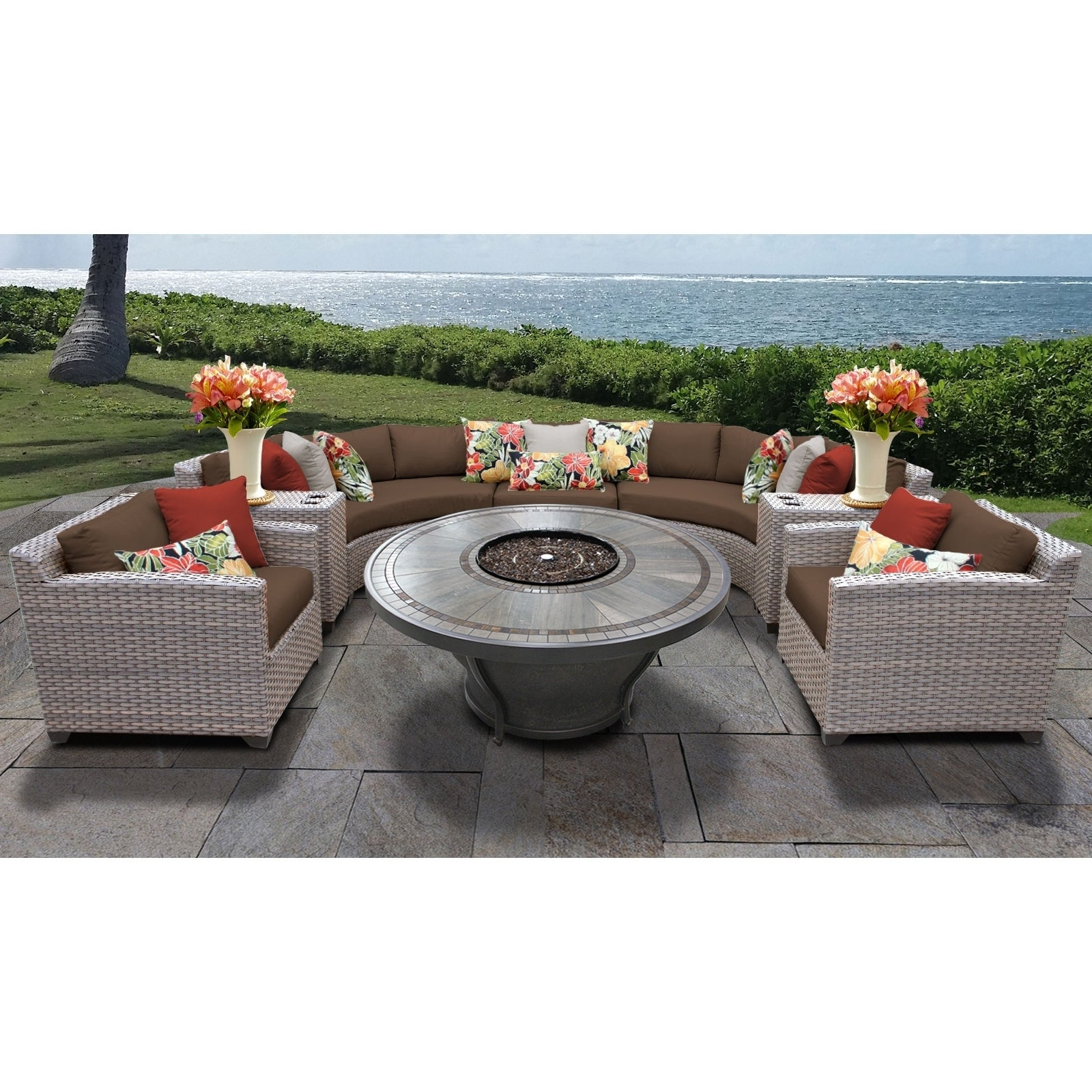 Florence 8 Piece Outdoor Wicker Patio Furniture Set 08K Pertaining To Most Popular Baca Patio Sofas With Cushions (View 13 of 25)