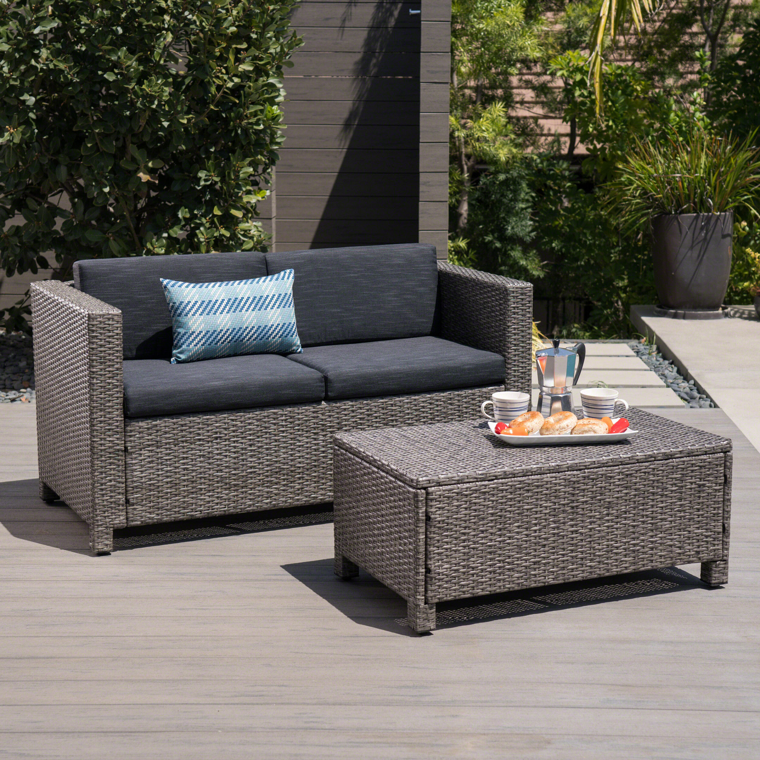 Furst Outdoor Loveseats With Cushions Intended For Best And Newest Furst Outdoor Rattan Loveseat And Table Set With Cushions (View 7 of 25)