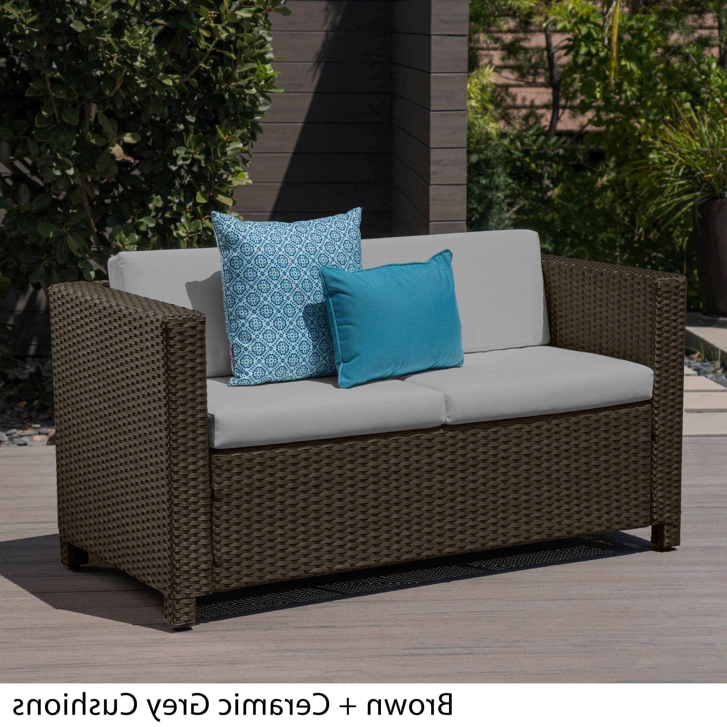 Furst Outdoor Loveseats With Cushions With Favorite Puerta Outdoor Wicker Loveseat With Cushionchristopher (View 16 of 25)