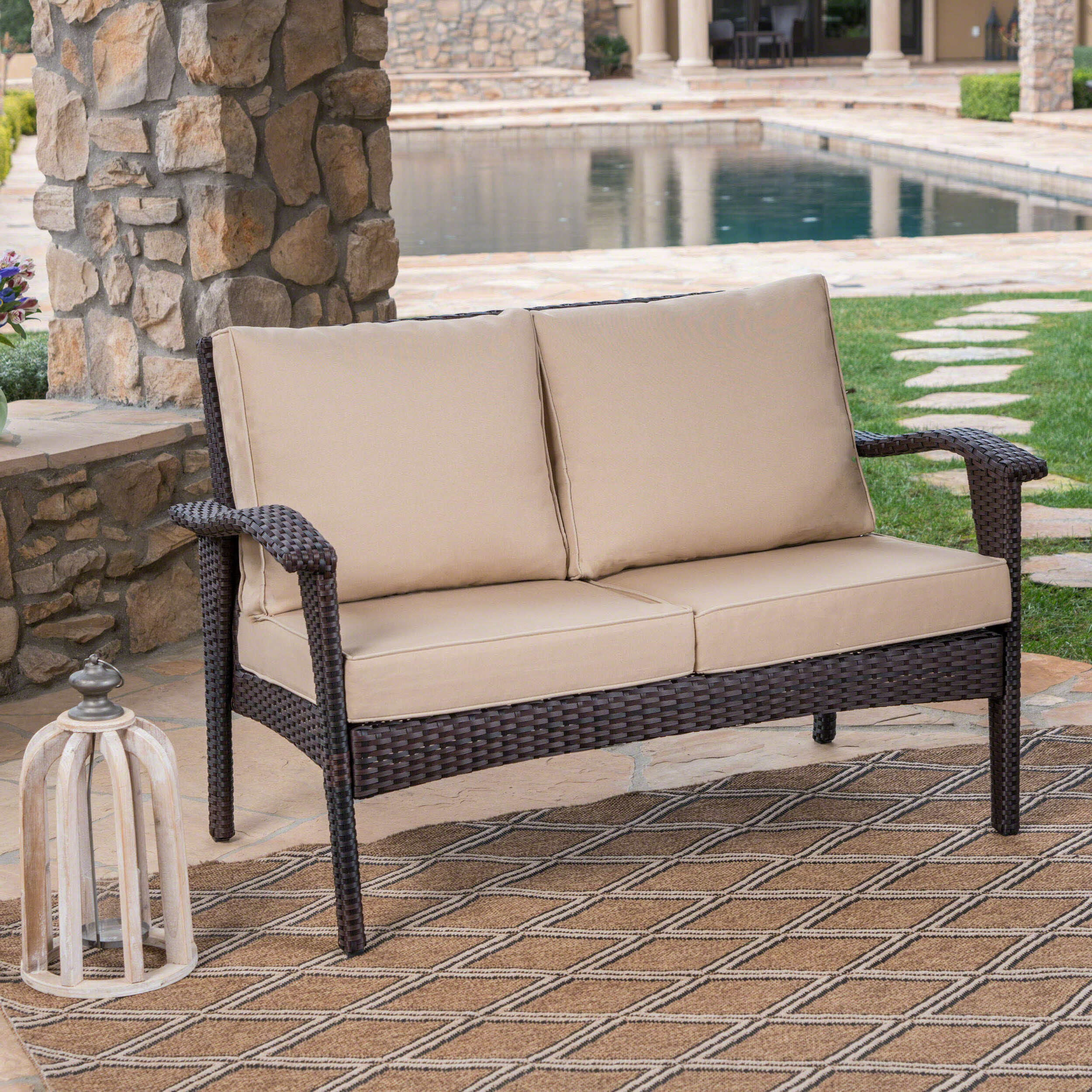 Hagler Outdoor Loveseat With Cushions Pertaining To Favorite Furst Outdoor Loveseats With Cushions (View 14 of 25)