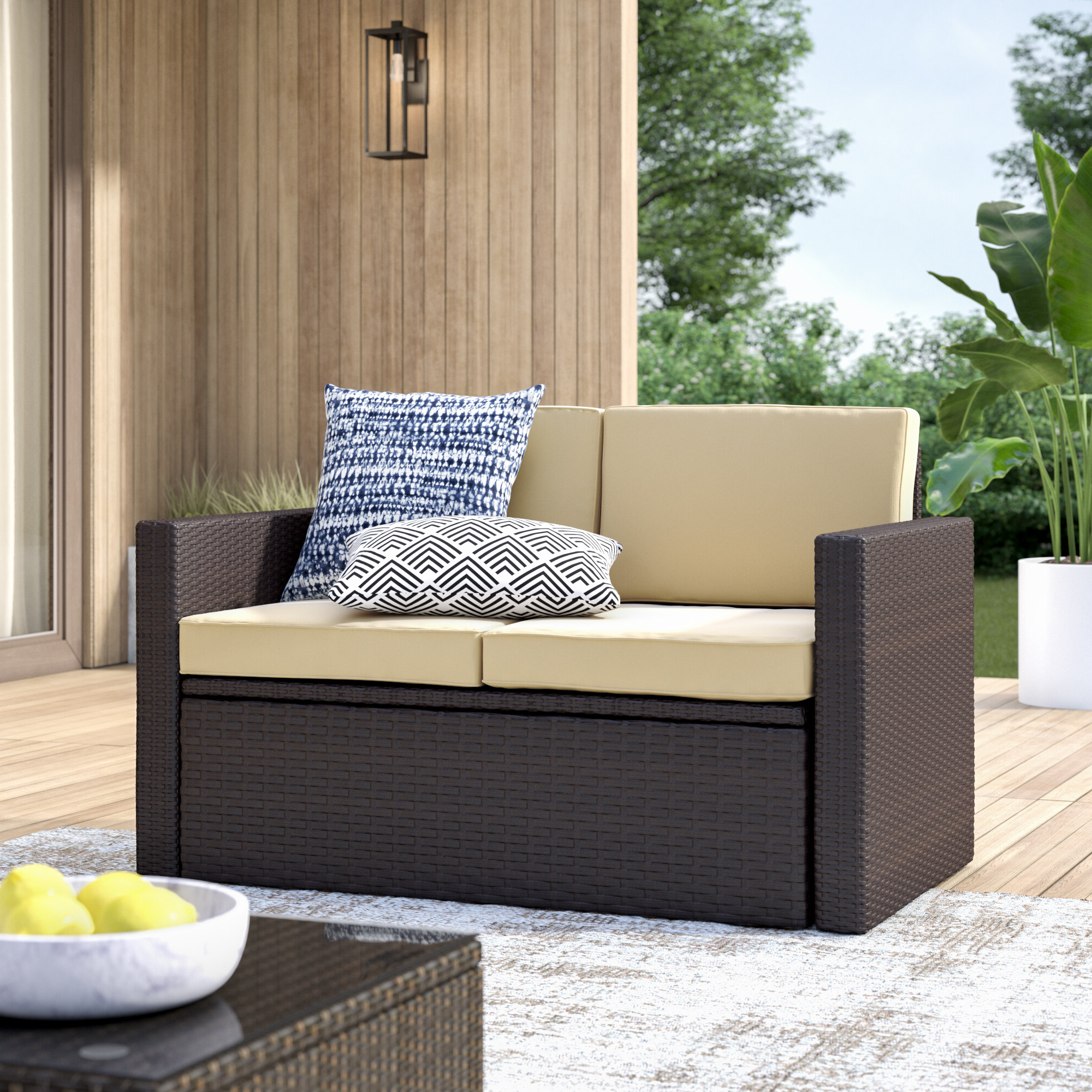 Hagler Outdoor Loveseats With Cushions In Current Belton Loveseat With Cushions (View 8 of 25)