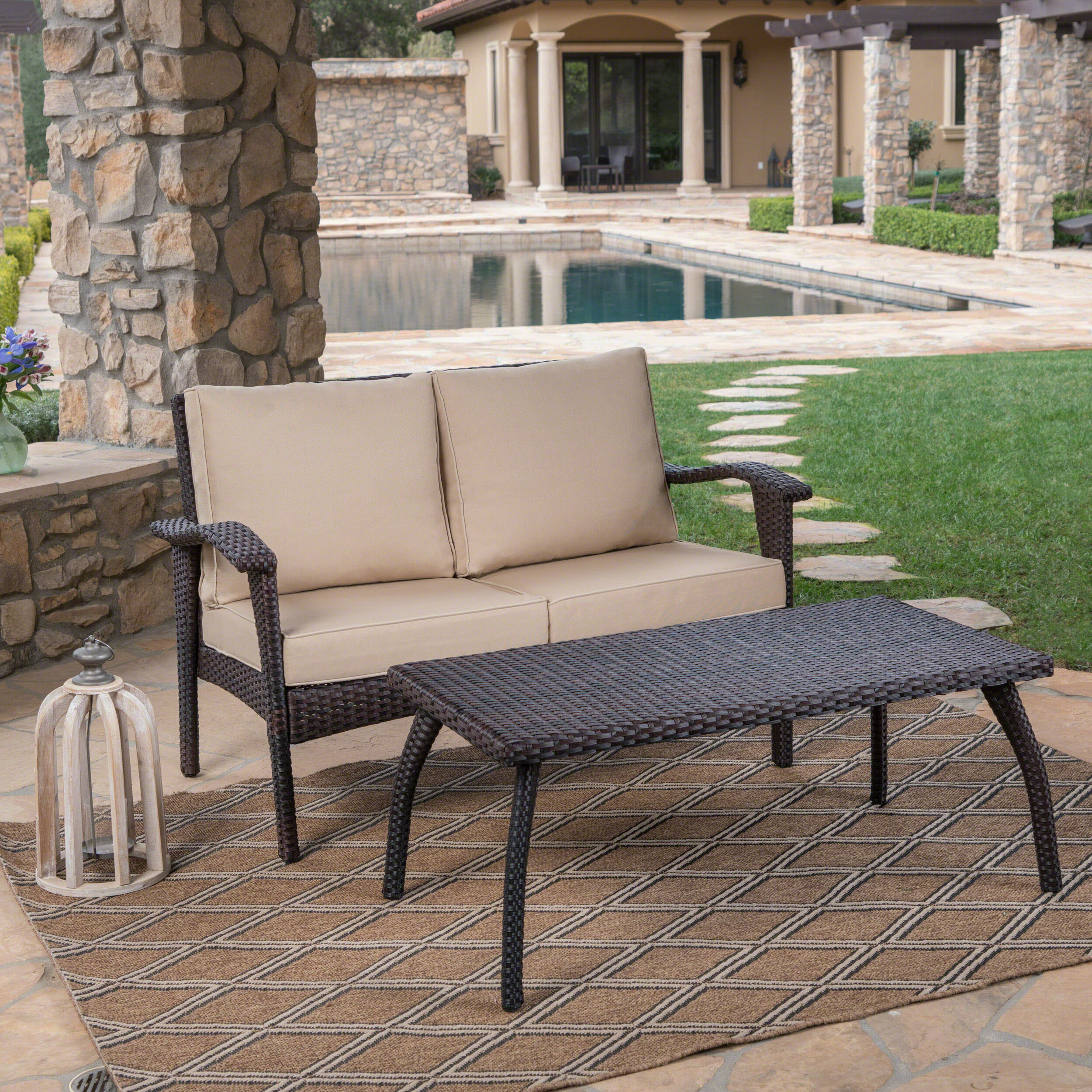 Hagler Outdoor Loveseats With Cushions In Newest Hagler 2 Piece Sofa Seating Group With Cushions (View 5 of 25)