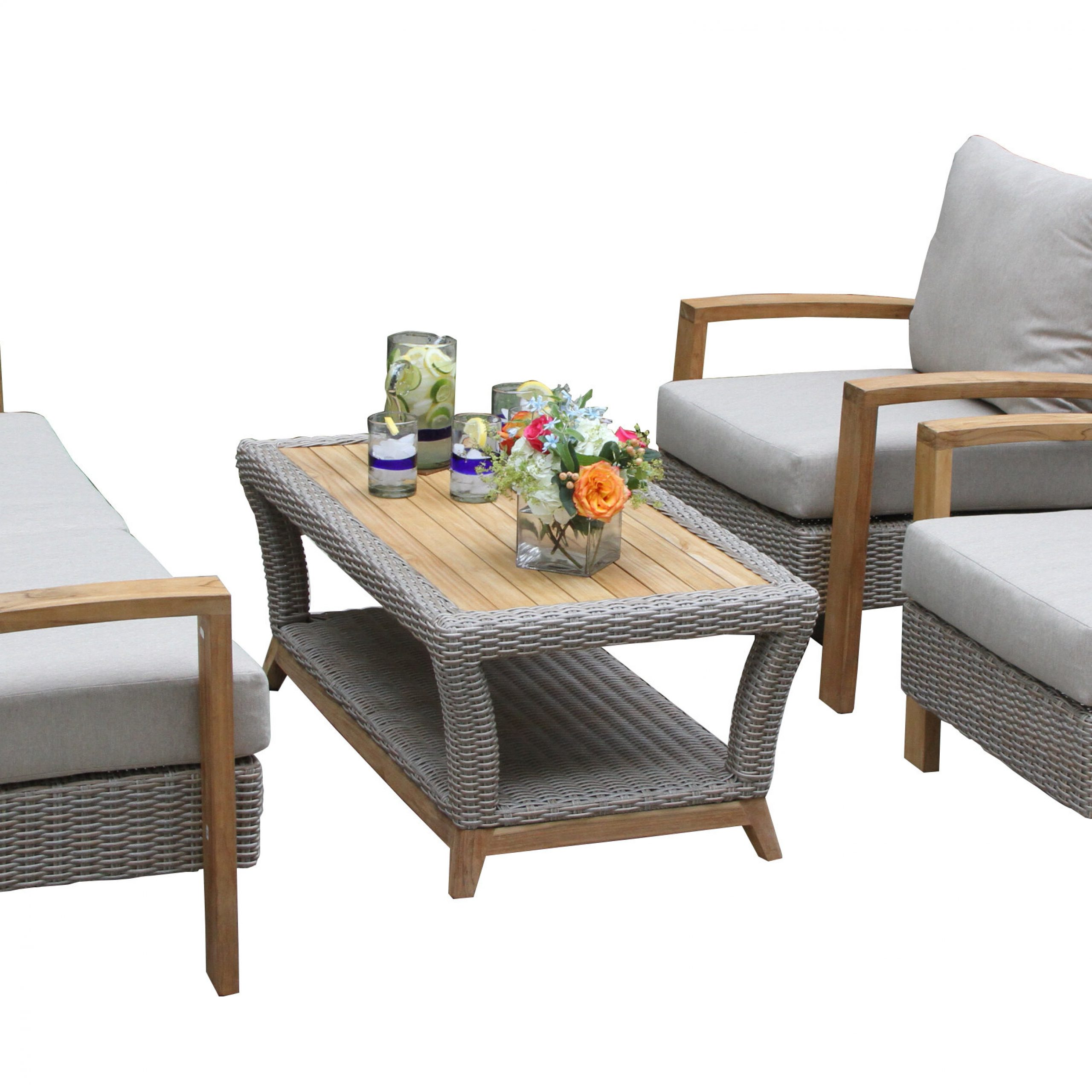 Hagler Outdoor Loveseats With Cushions Inside 2019 Dillard 4 Piece Rattan Sofa Seating Group With Cushions (View 11 of 25)