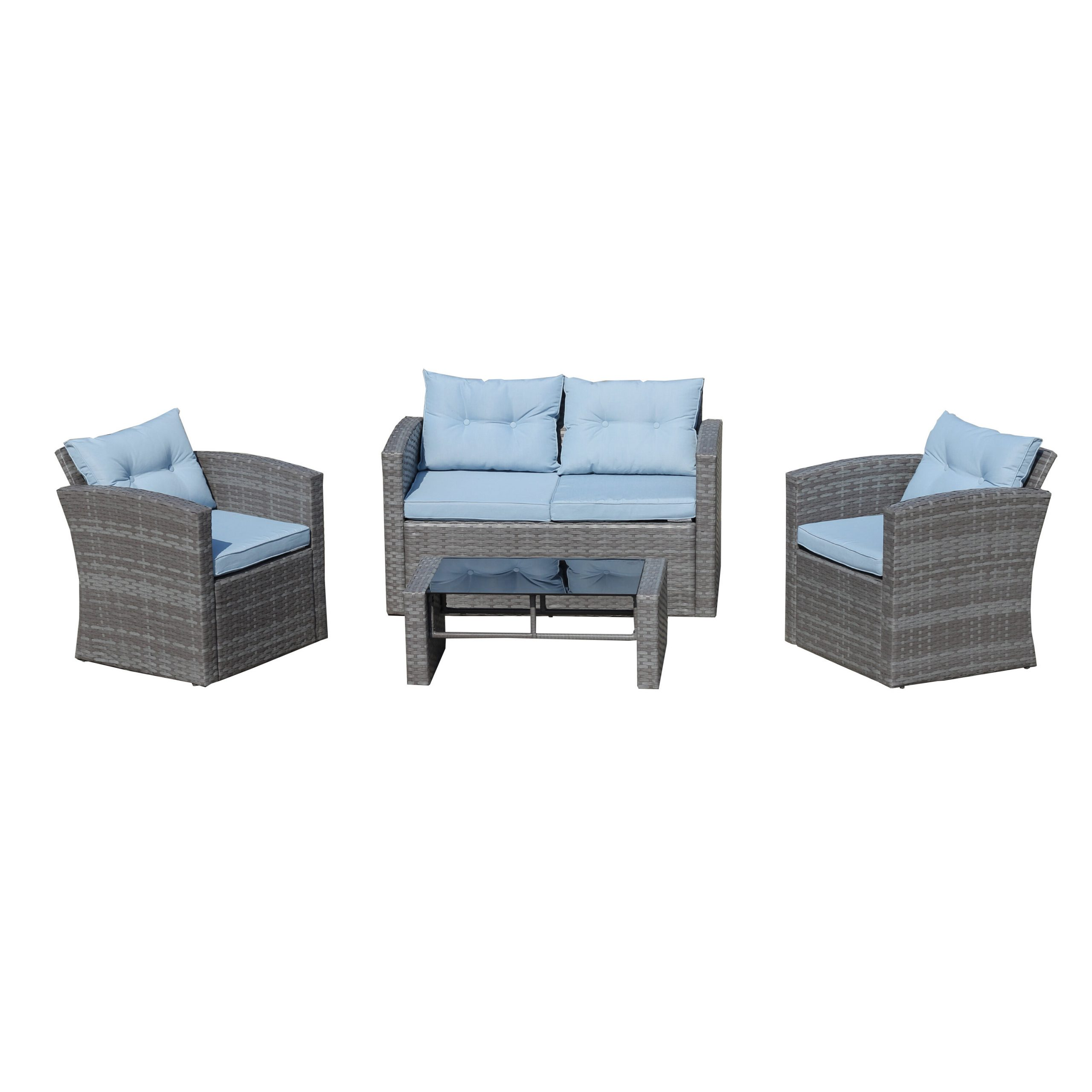 Hagler Outdoor Loveseats With Cushions Pertaining To Well Known Rawtenstall 4 Piece Sofa Seating Group With Cushions (View 23 of 25)