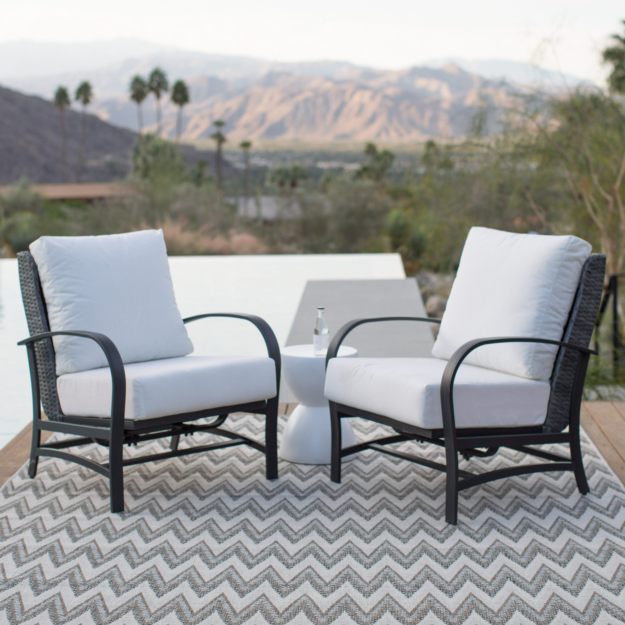 Hagler Outdoor Loveseats With Cushions With Regard To Well Liked Belham Living Augusta Stationary Rocker Lounge Chairs – Set (View 12 of 25)